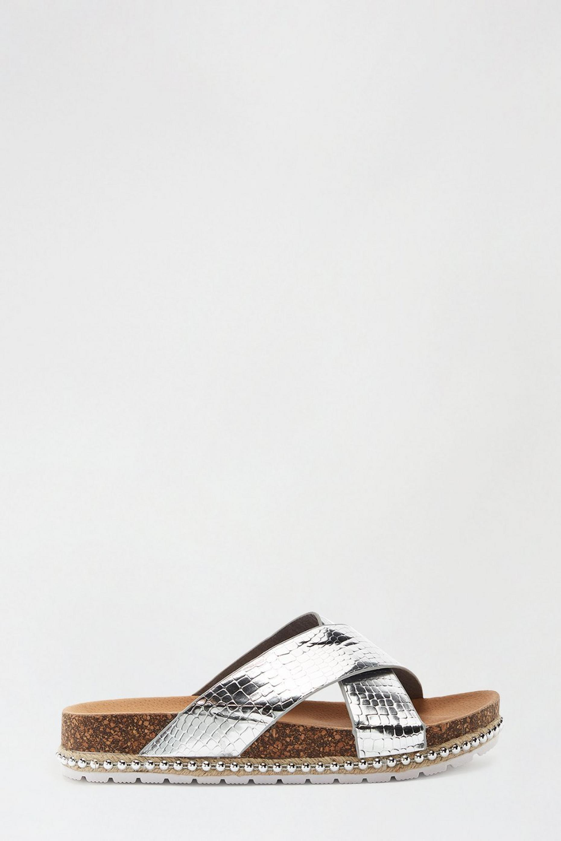 Silver Frenchie Cross Over Footbed Sandal