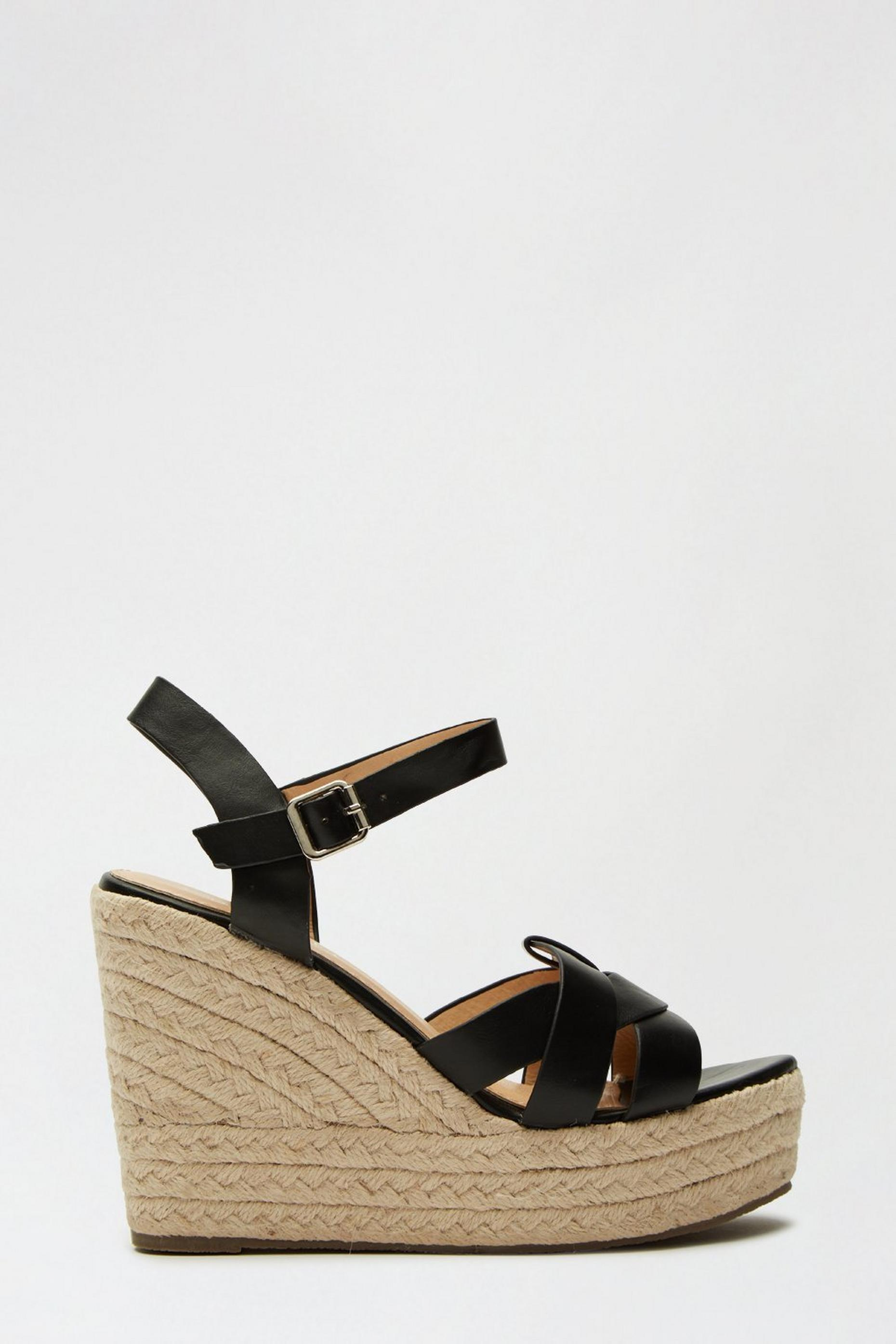 Black Ramble Woven Espadrille Wedge