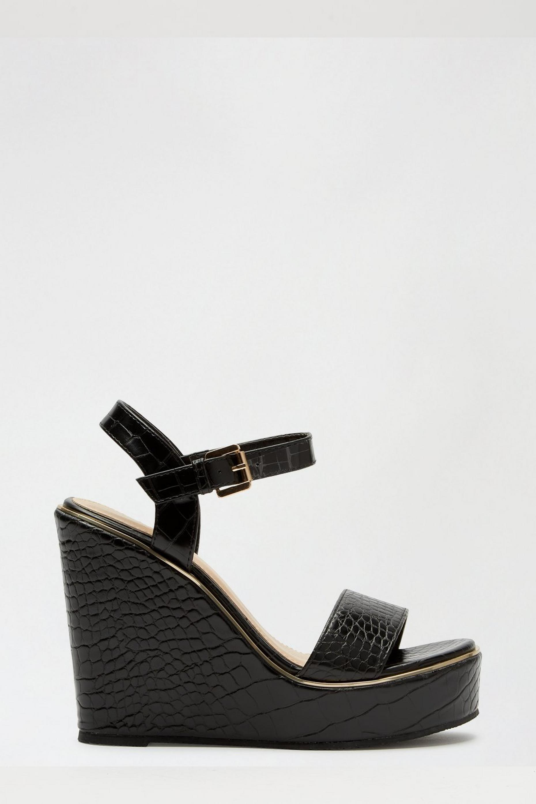 Black Rock Croc Detail Wedge