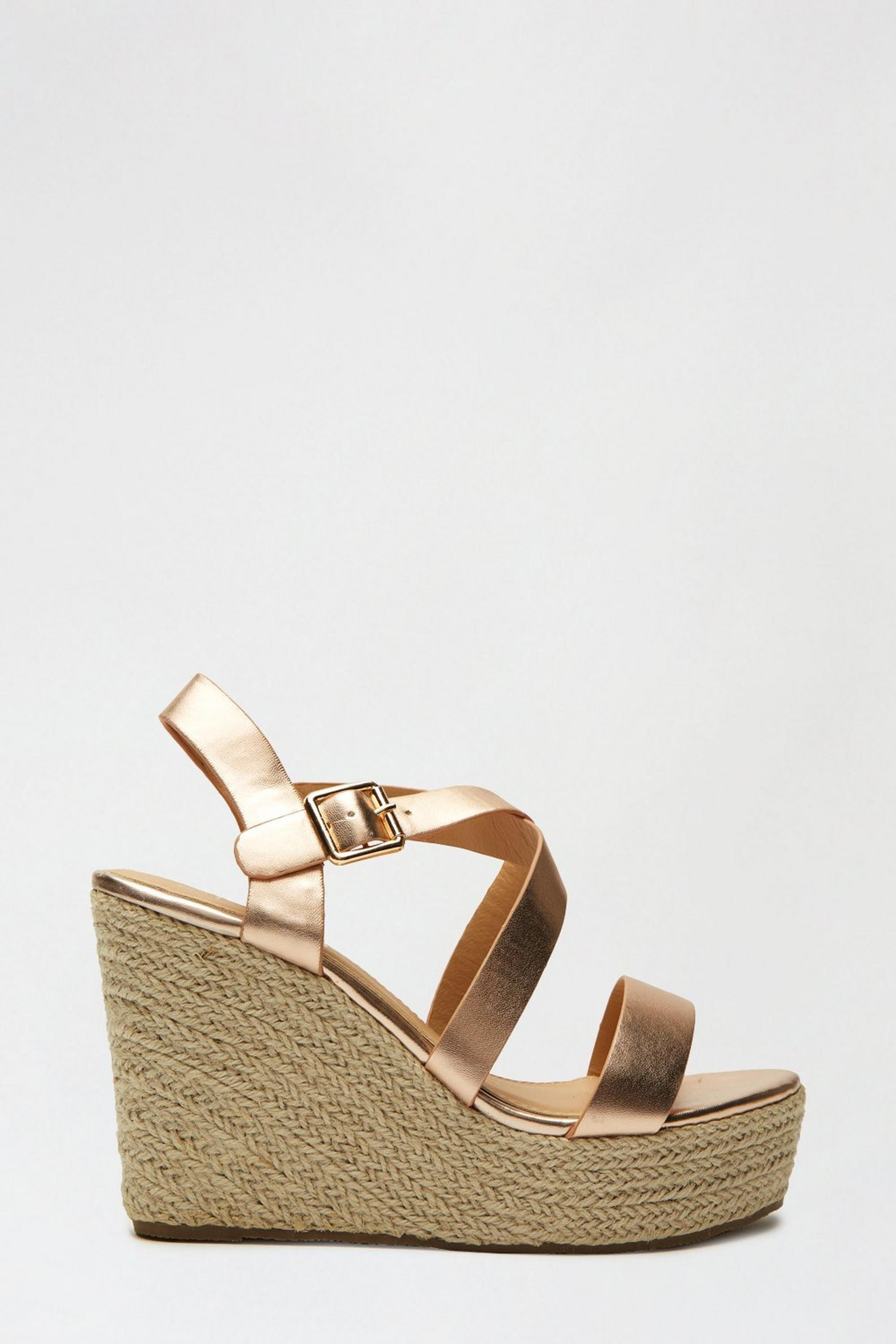 Rosegold Rose Strappy Espadrille Wedge
