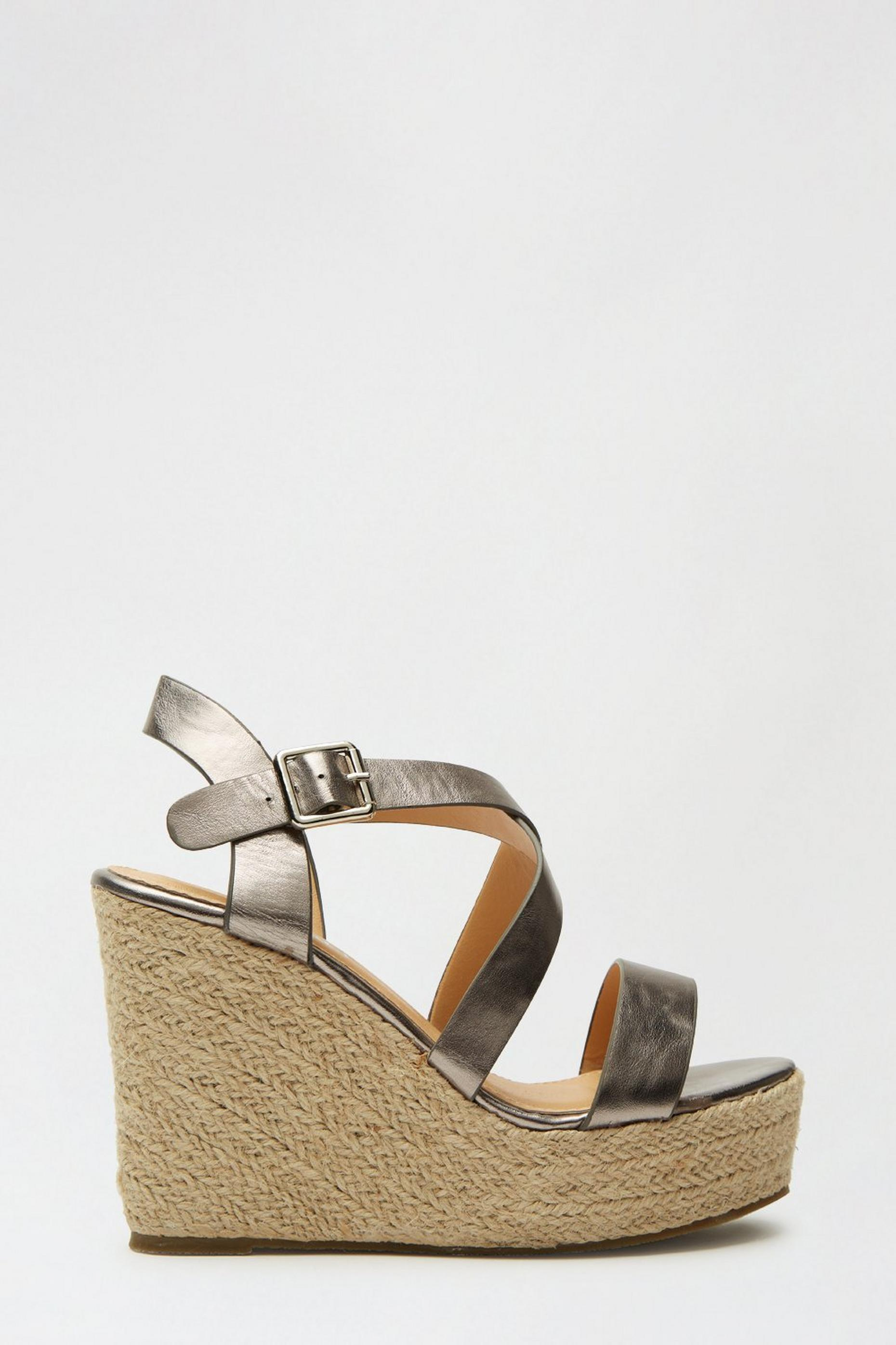 Pewter Rose Strappy Espadrille Wedge