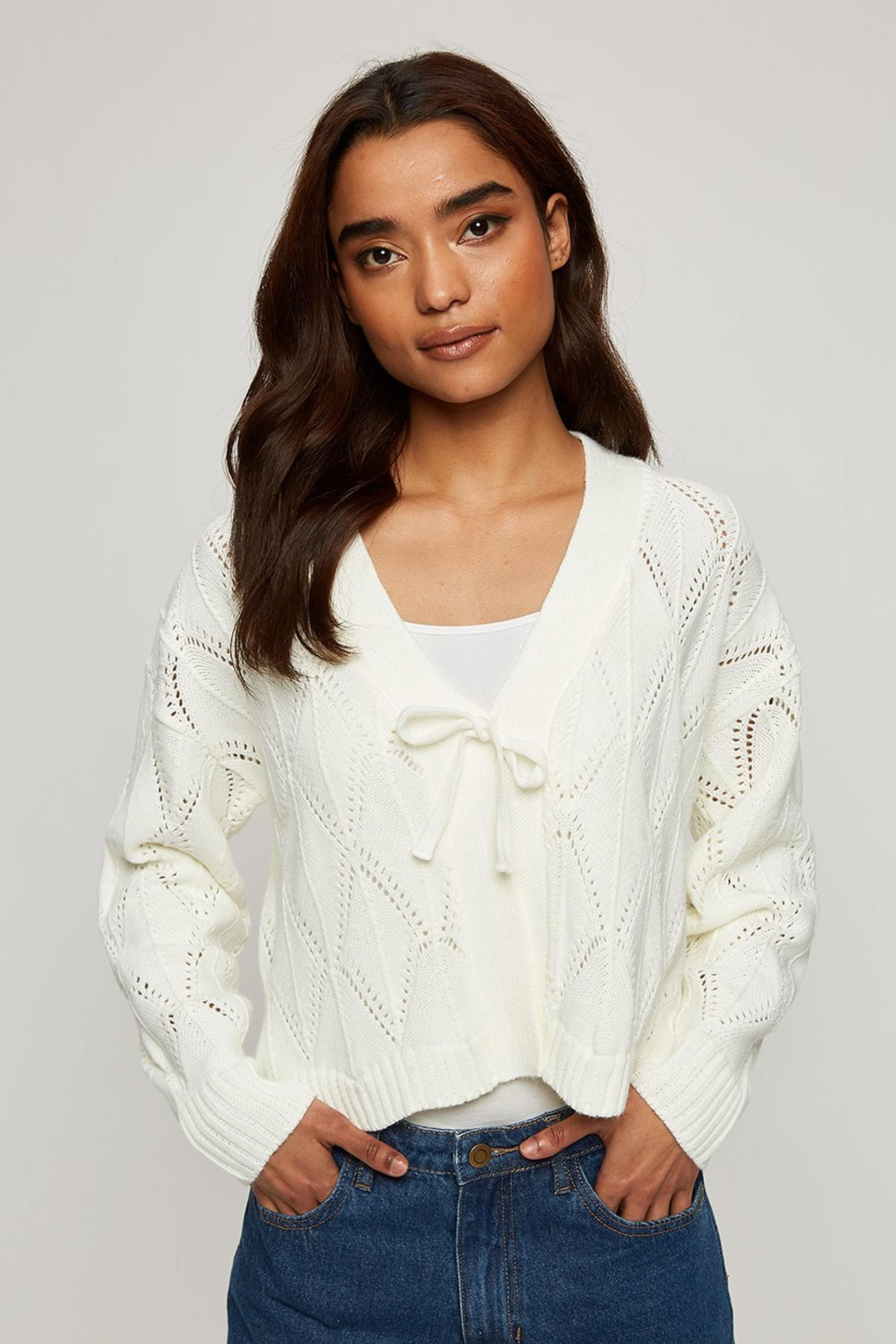 Petite Cream Ruffle Pointelle Cardigan