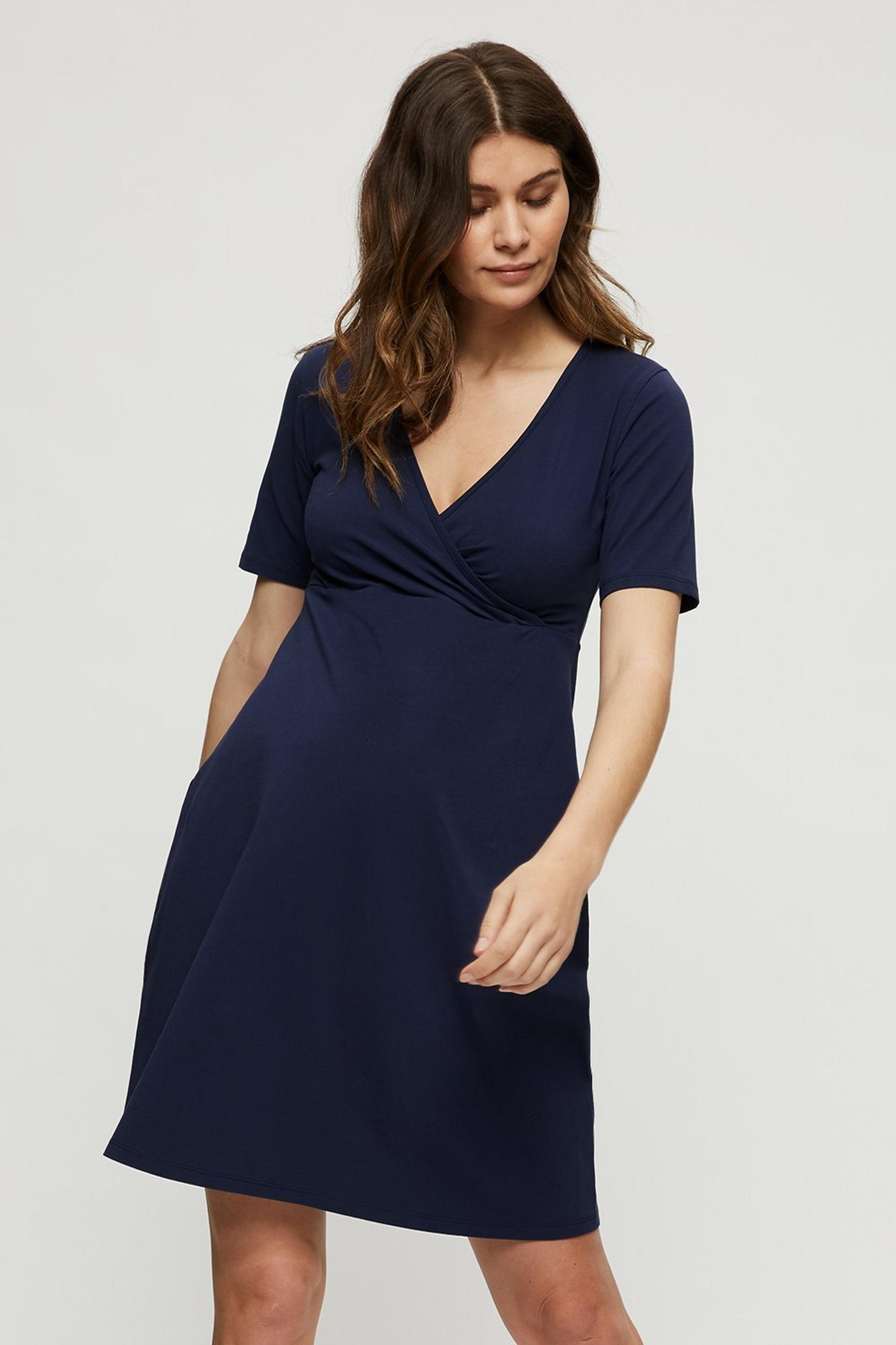 Maternity Navy Wrap Dress