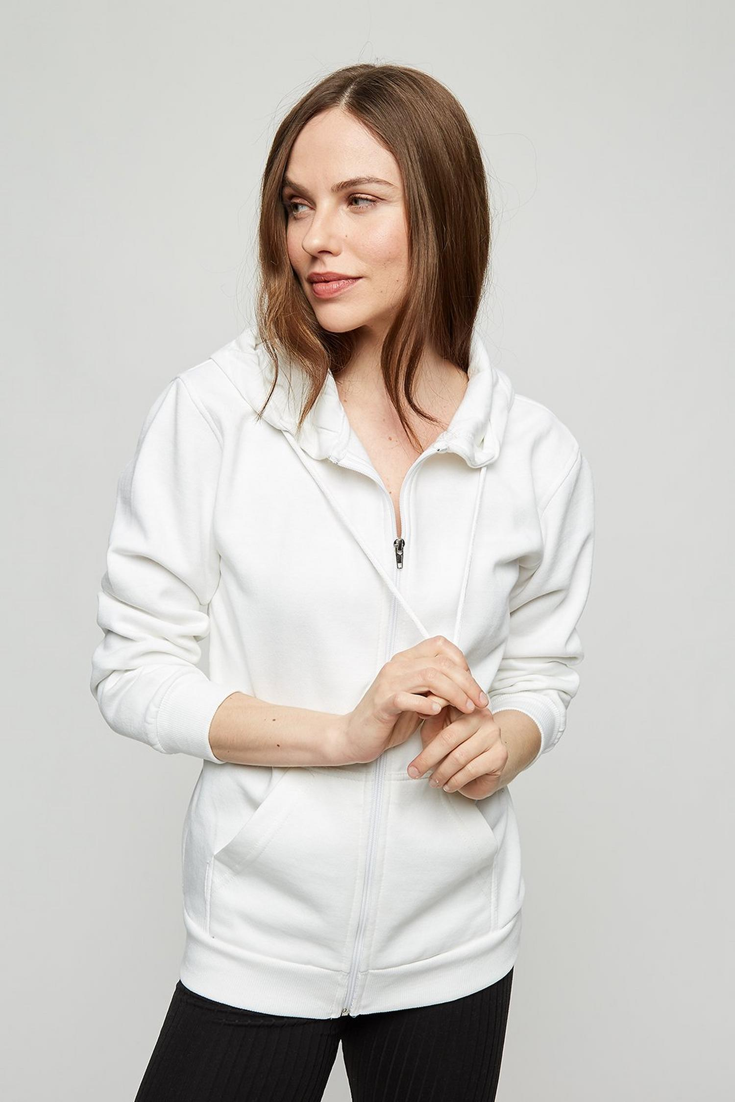 173 White Zip Up Hoody image number 1
