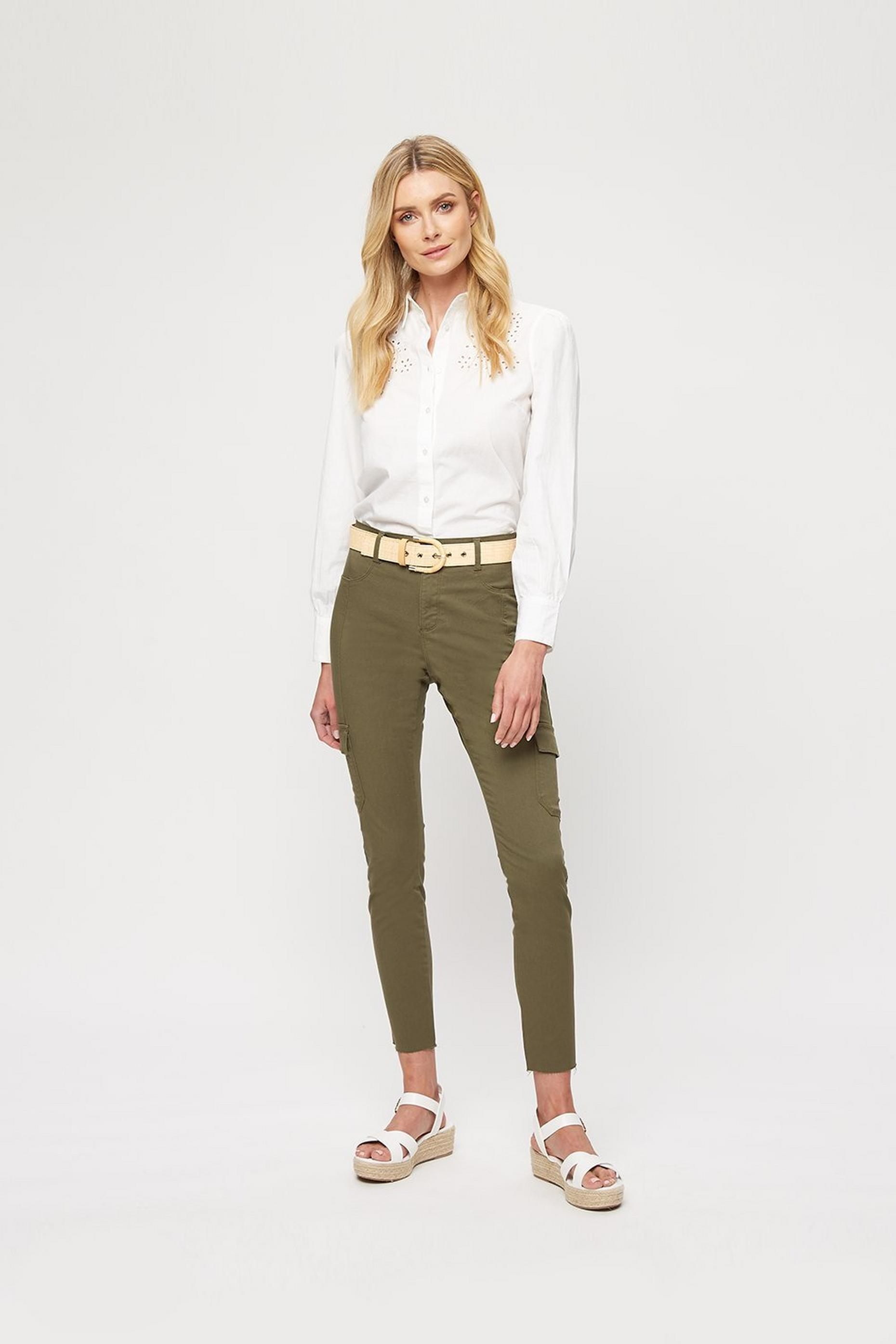 Khaki Cargo Pocket Frankie Jean With Raw Hem