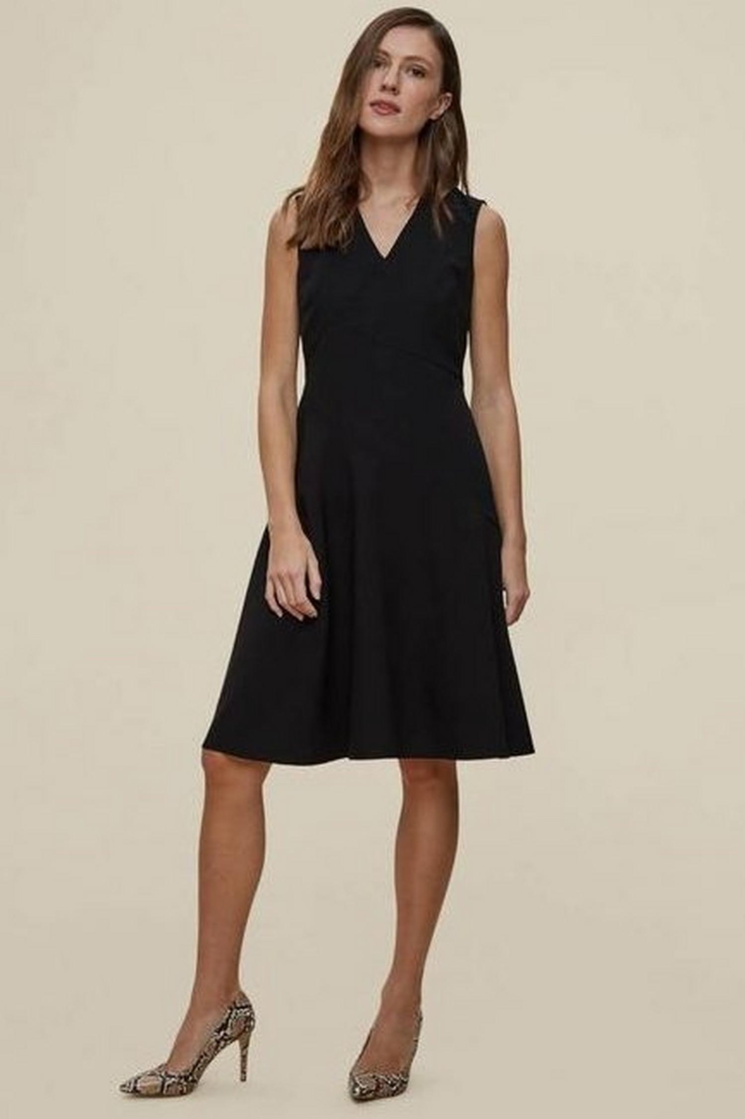 105 Black Fit And Flare Tailored Dress image number 1