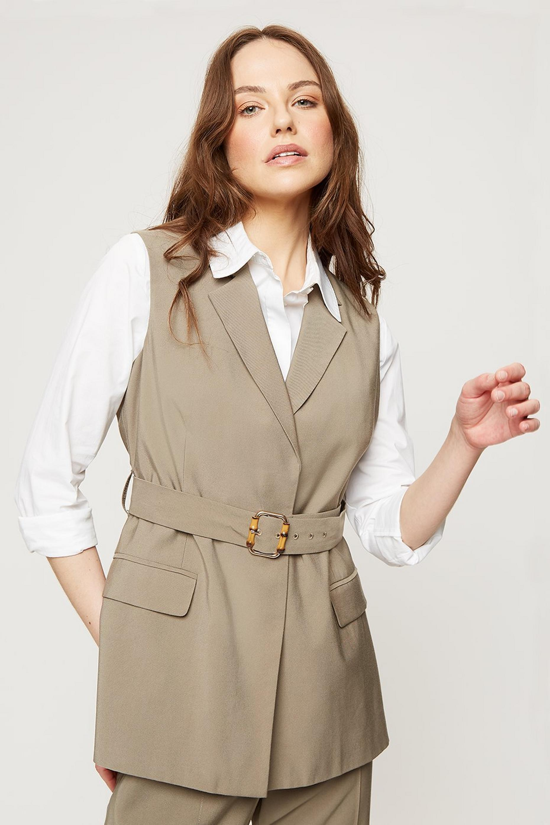Khaki Bamboo Buckle Sleeveless Jacket