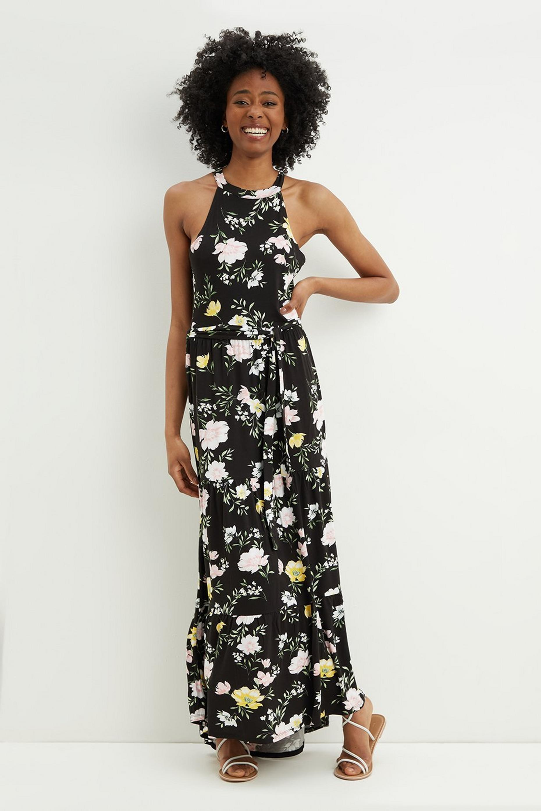 Tall Floral Halter Neck Midi Dress