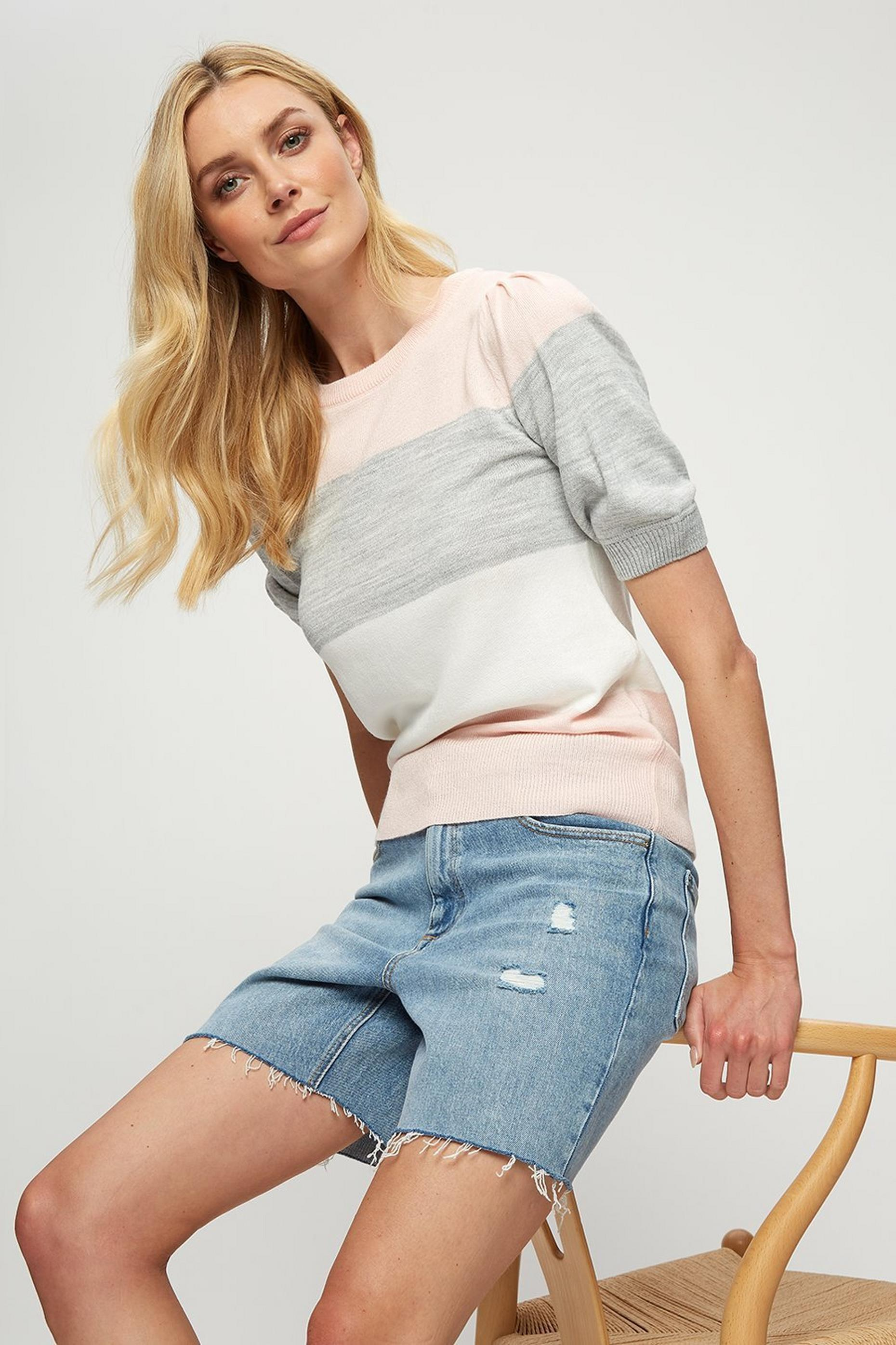 Blush Grey Colour Block Puff Sleeve Tee