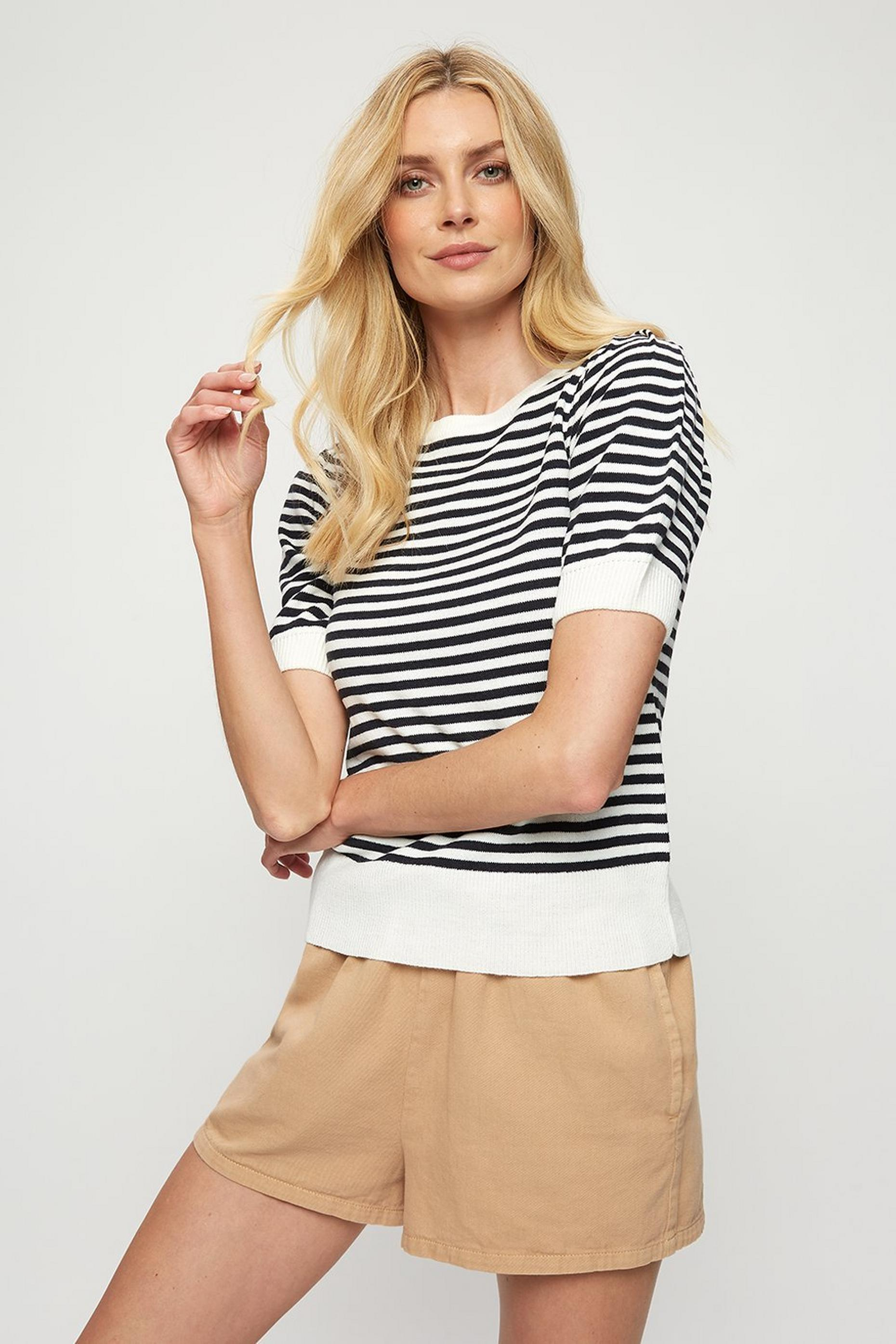 Navy Stripe Puff Sleeve Tee