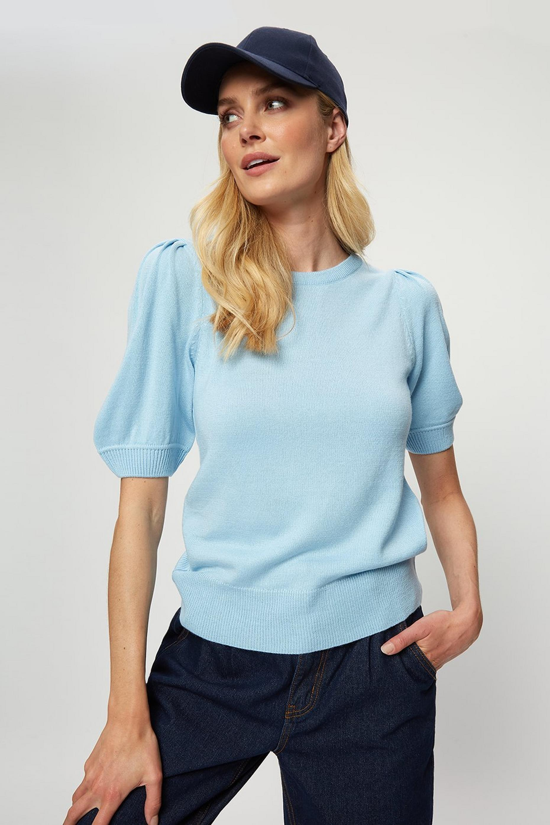Pale Blue Puff Sleeve Tee