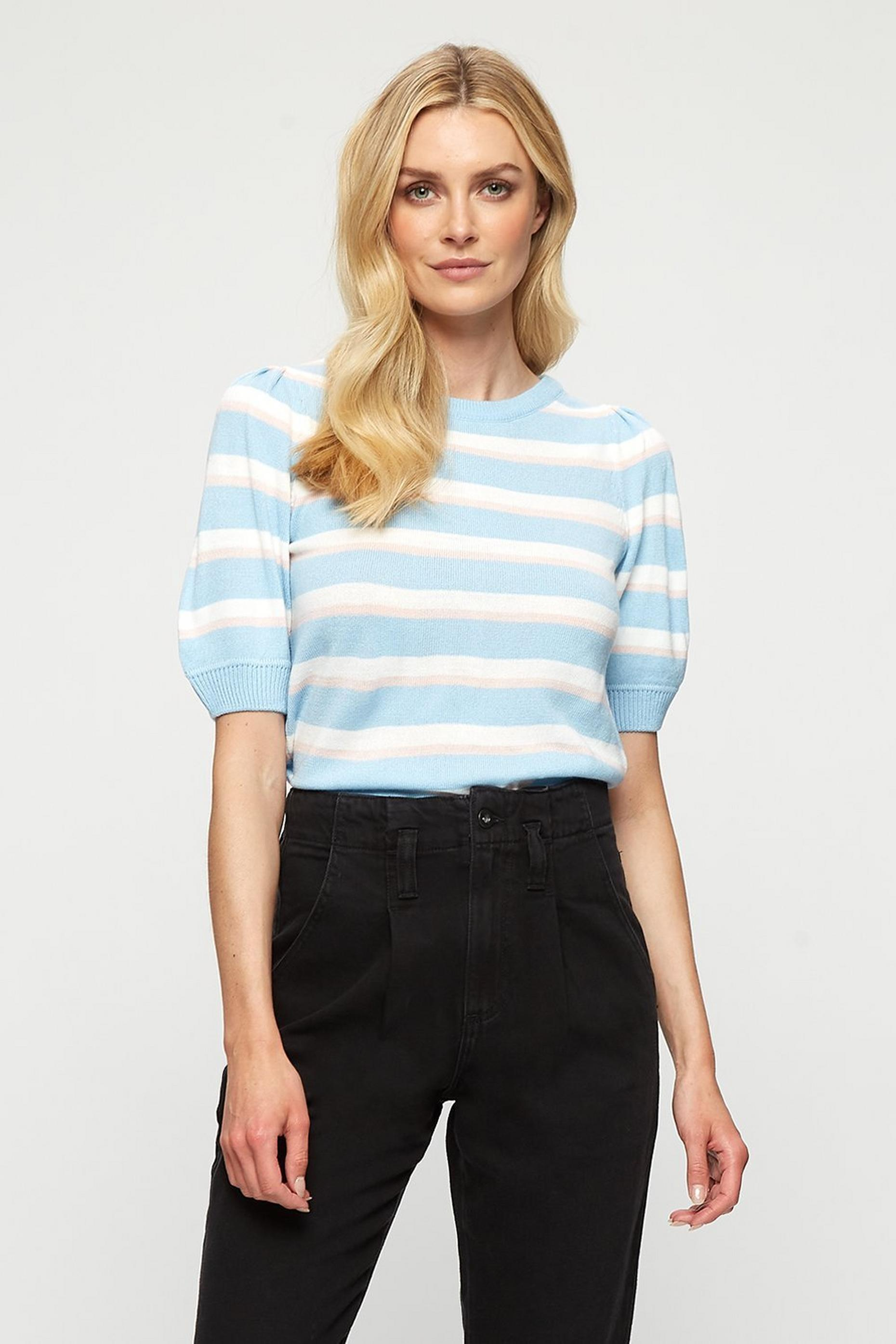 Pale Blue Stripe Puff Sleeve Tee