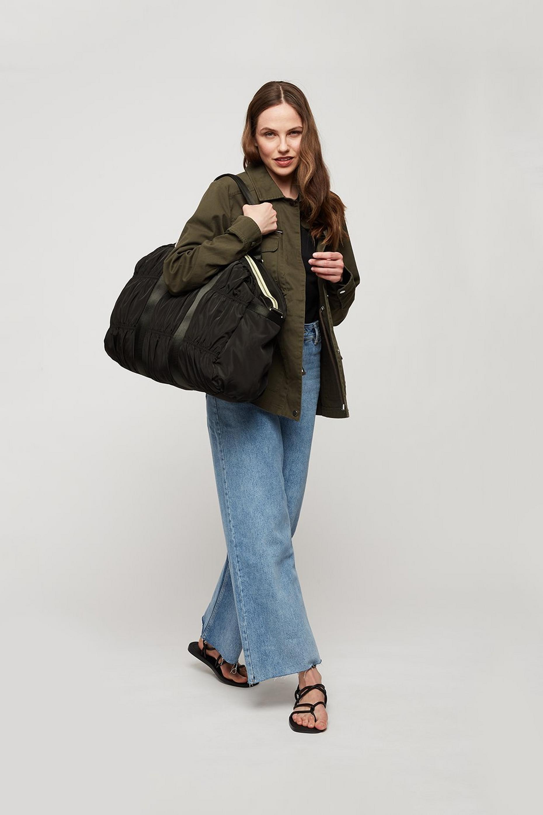 Nylon Ruched Weekender Bag