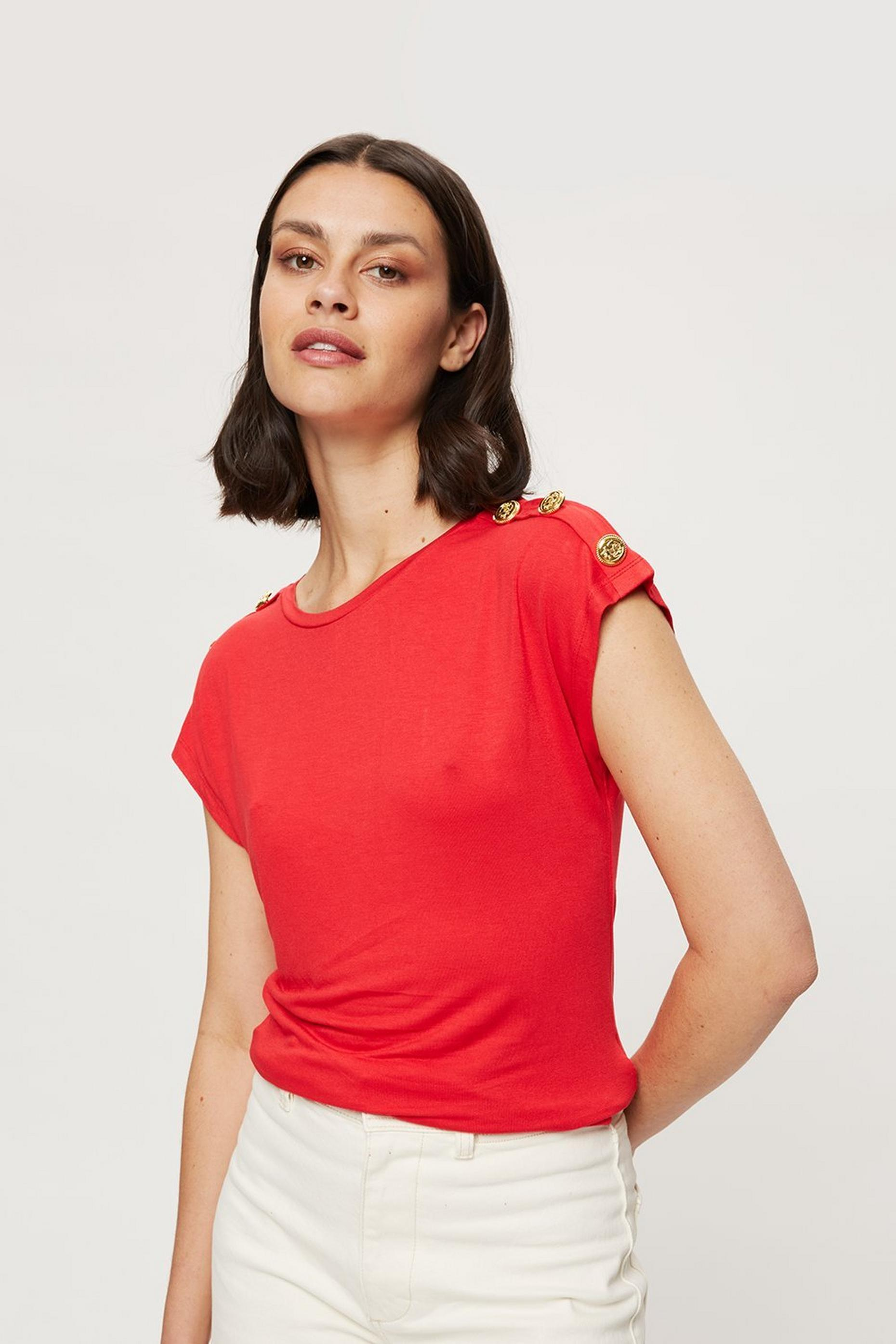 Red Button Shoulder T-shirt