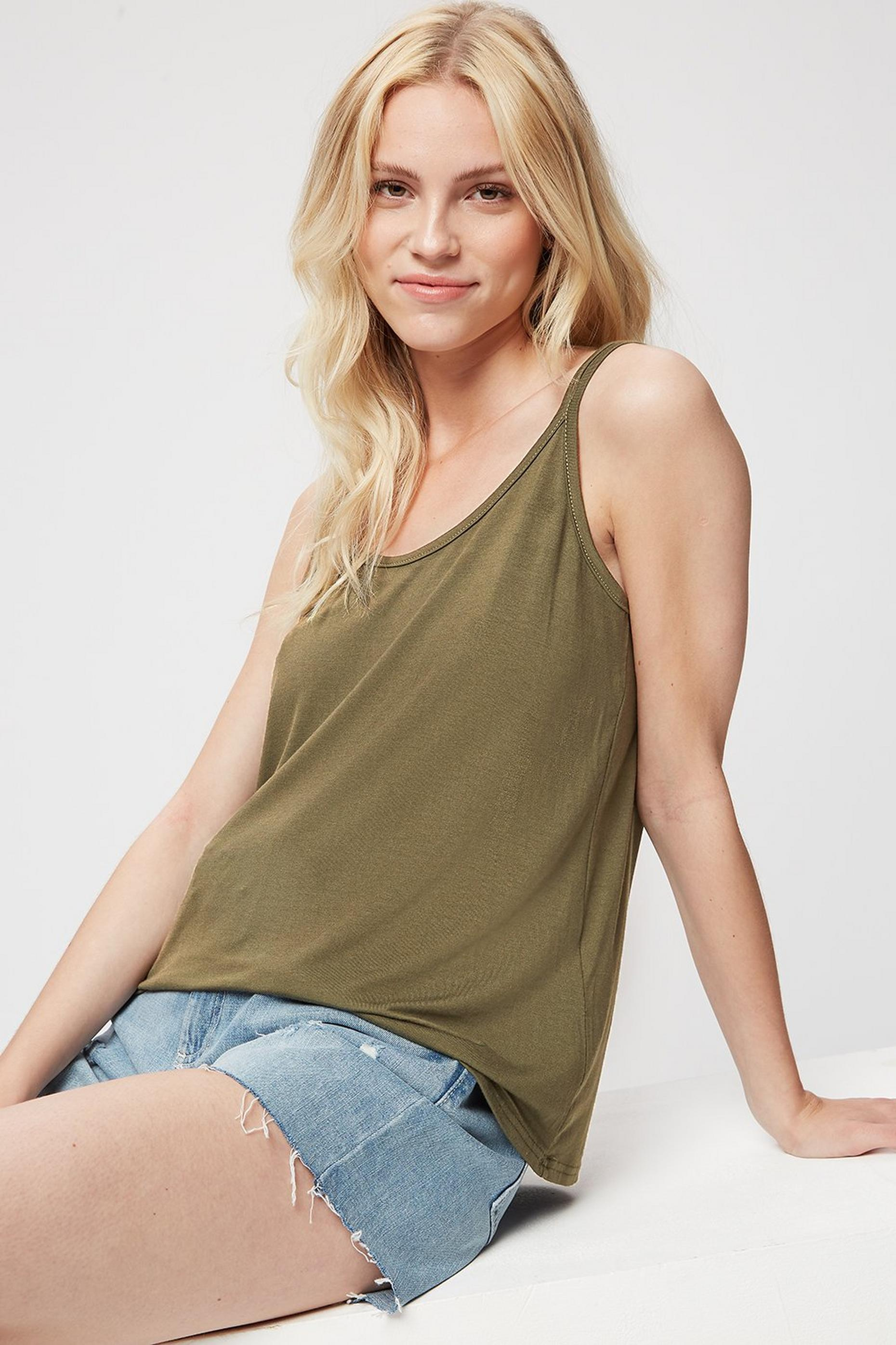 Khaki Double Strap Swing Cami