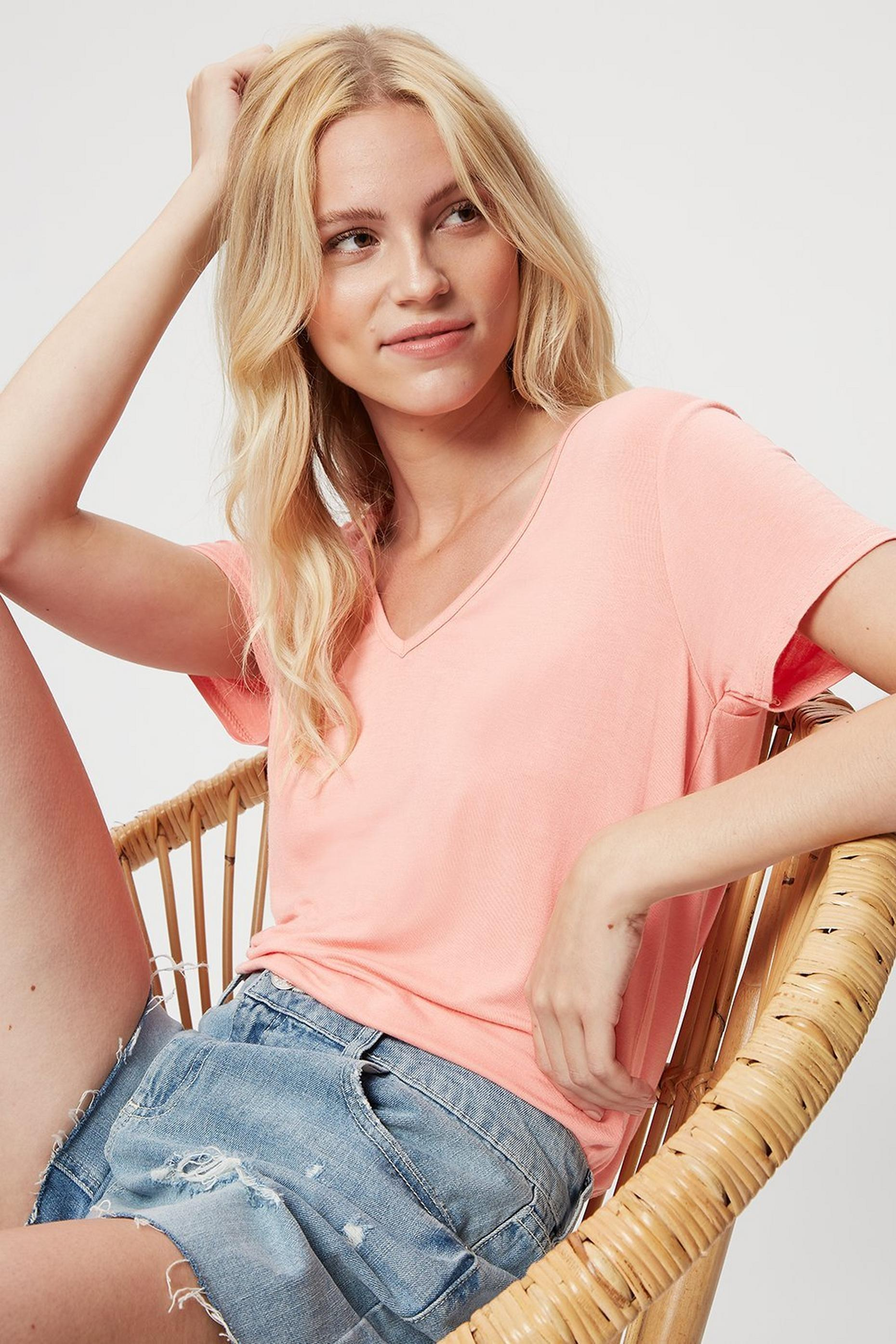 Pink V Neck Relaxed T-shirt