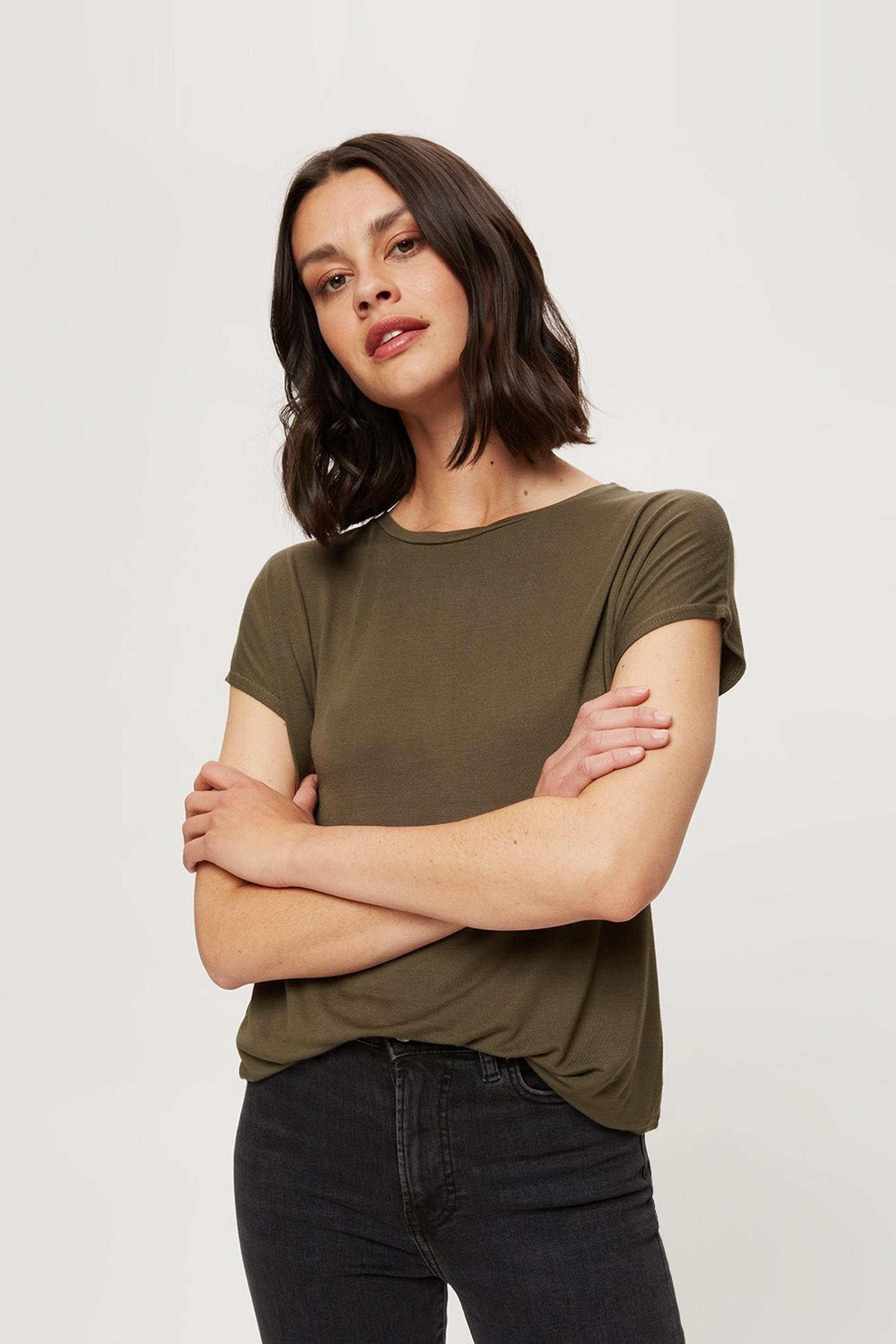 Khaki Relaxed Fit Curved Hem T-shirt