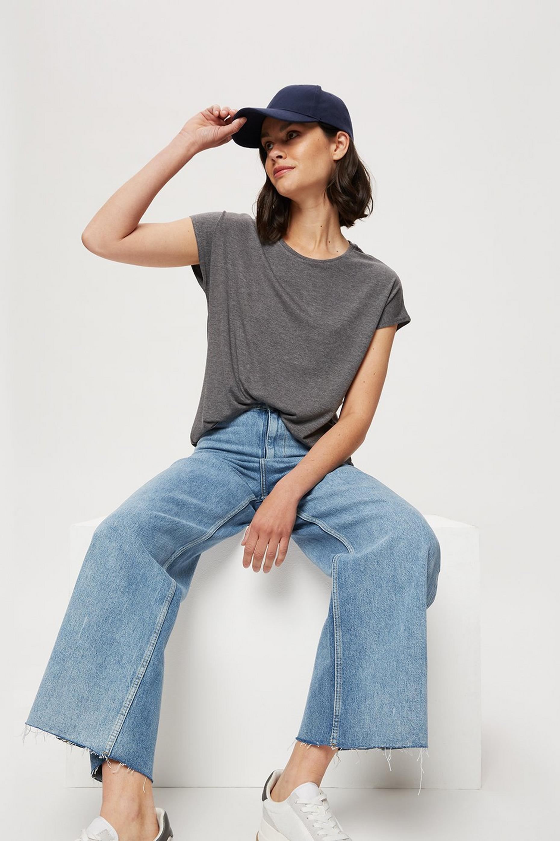 Charcoal Relaxed Fit Curved Hem T-shirt
