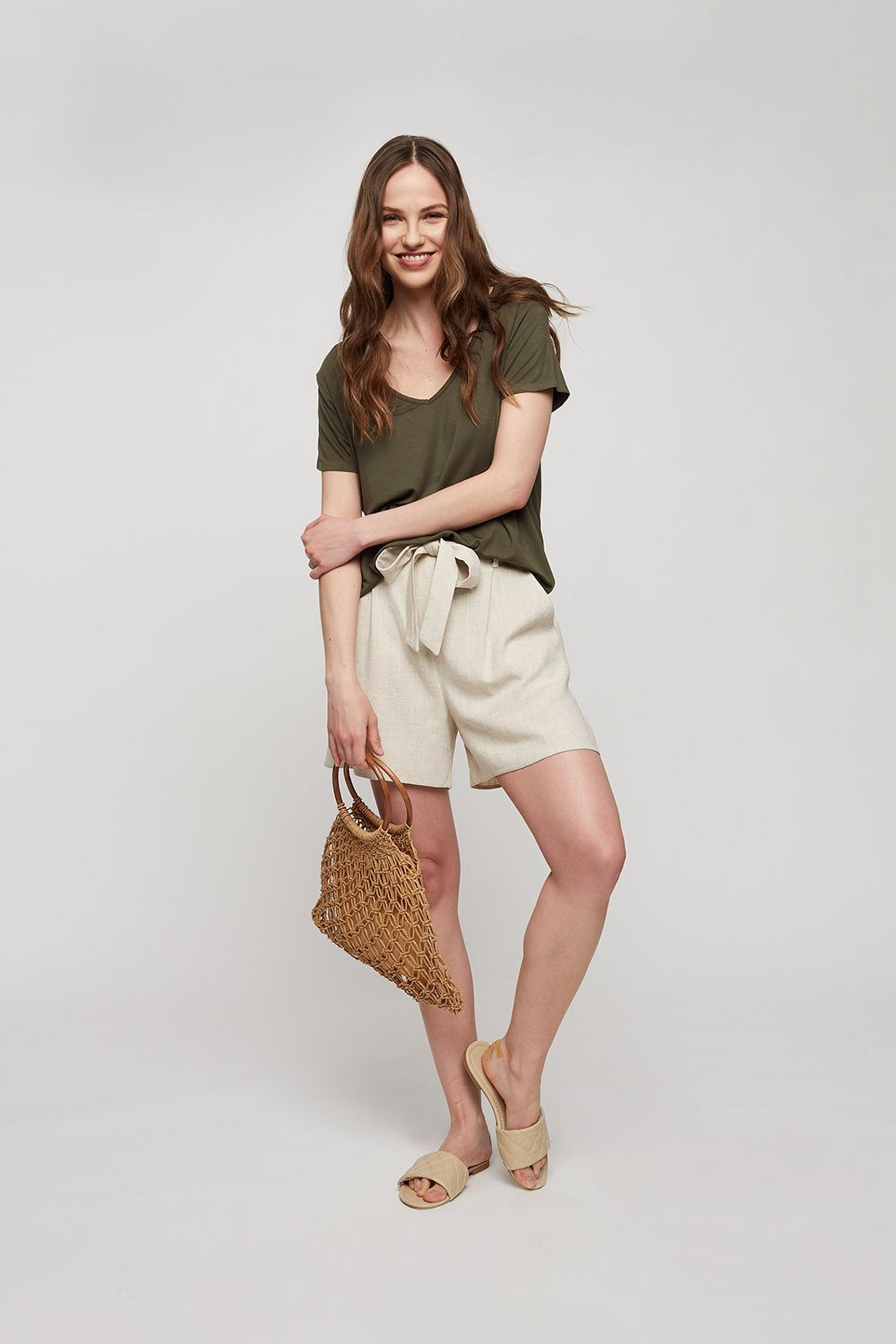 Khaki V Neck Relaxed T-shirt
