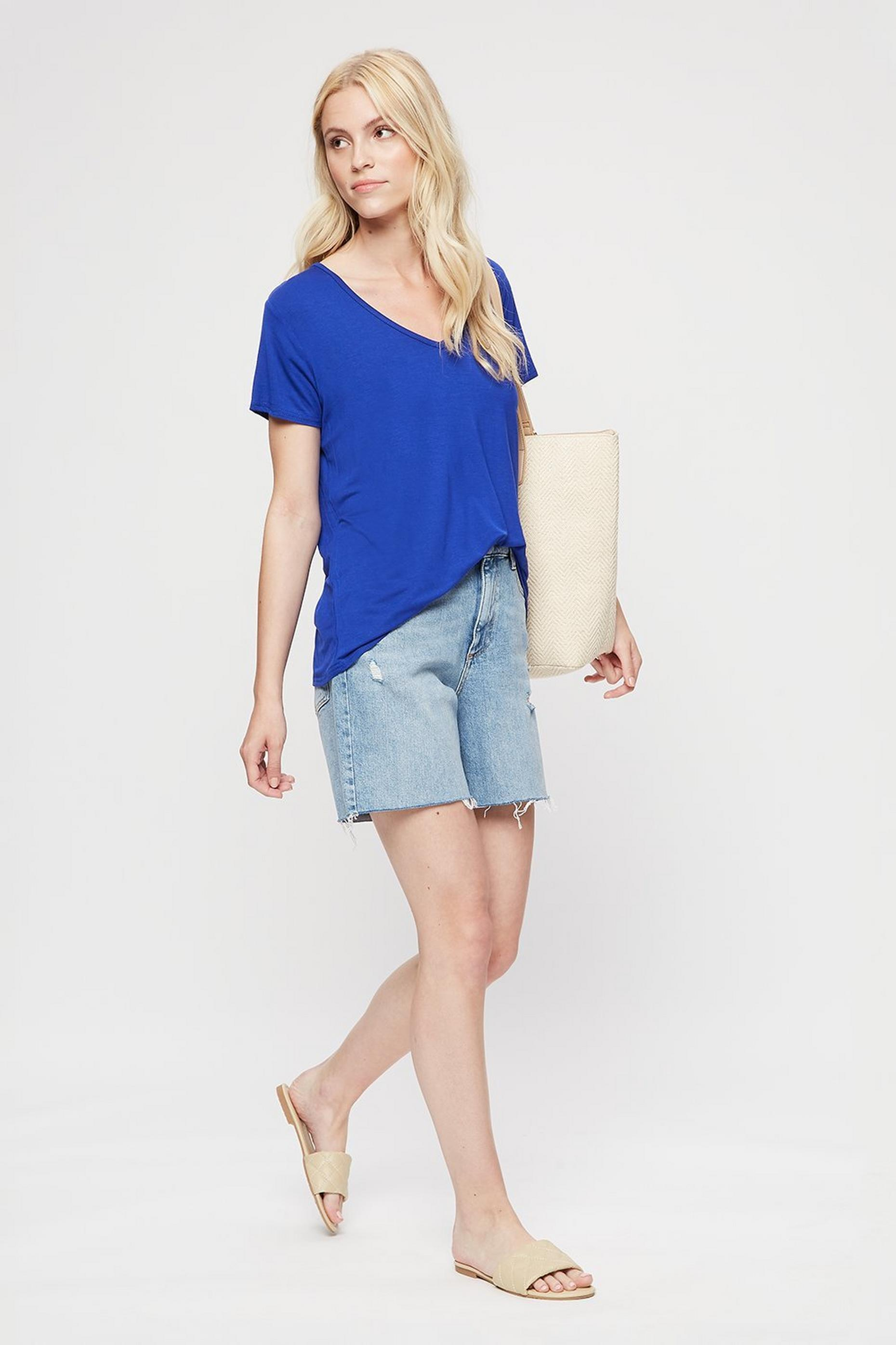 Cobalt V Neck Relaxed T-shirt