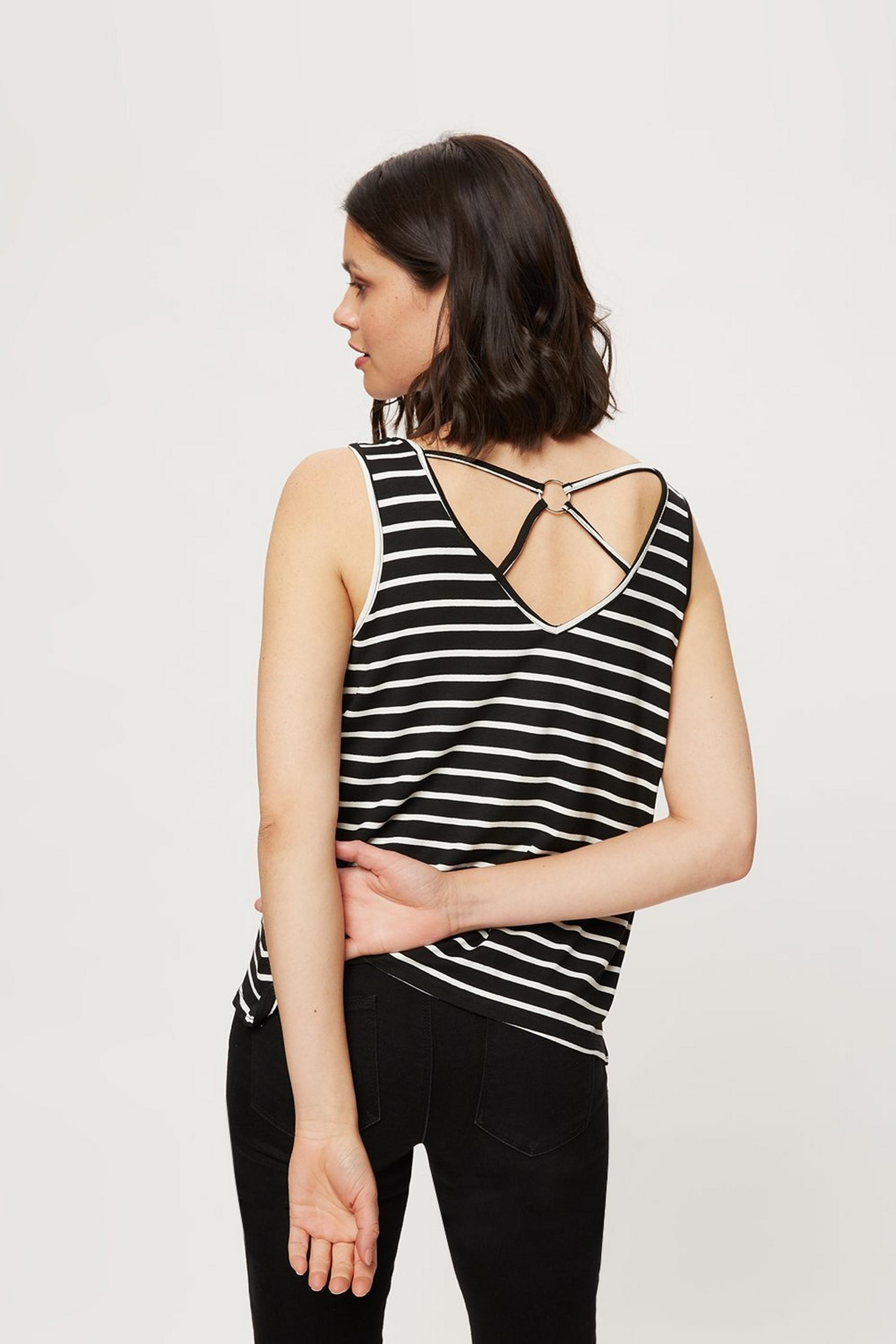 Black Stripe Ring Back Vest