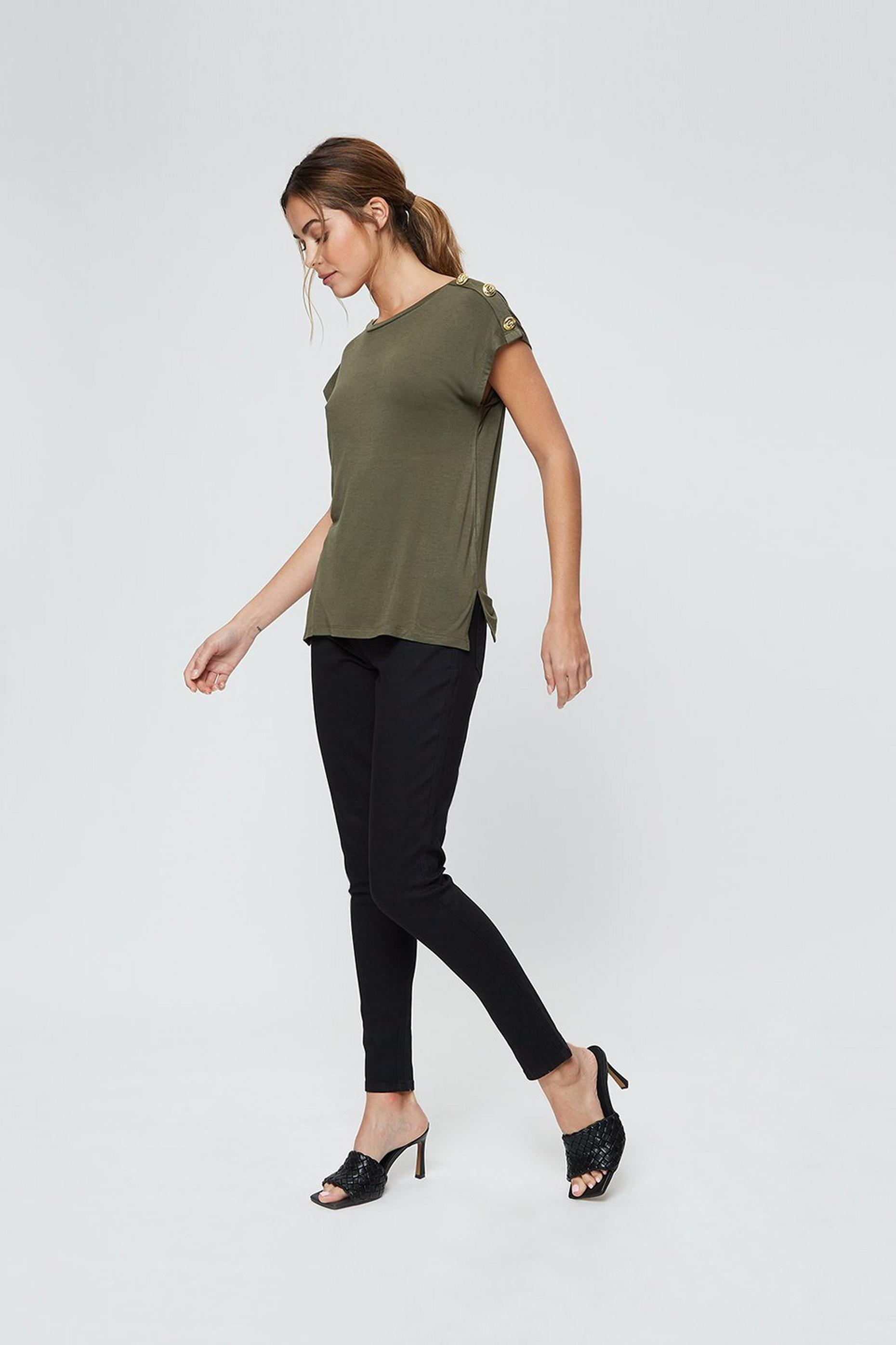 Khaki Button Shoulder T-shirt