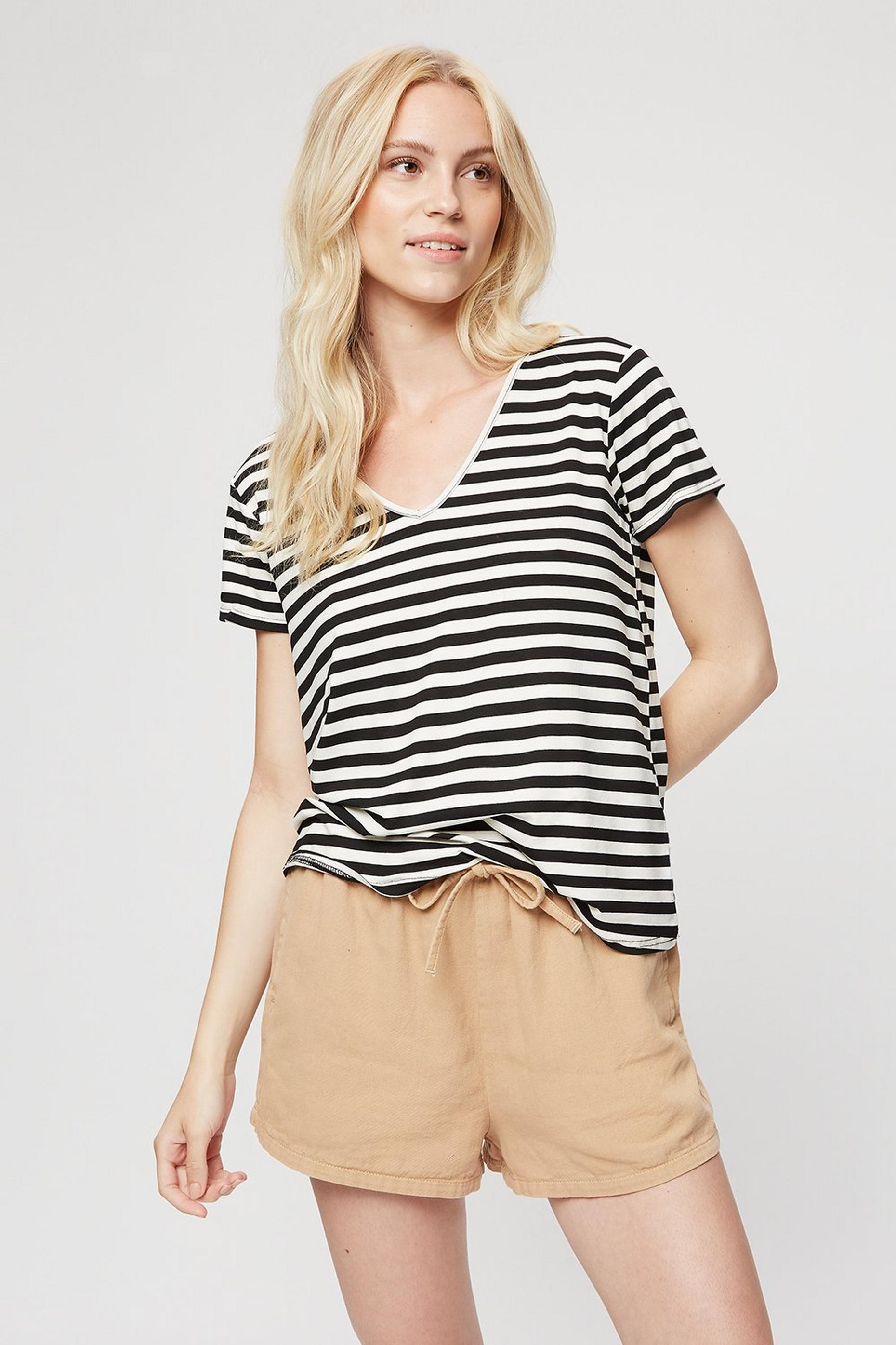White Stripe V Neck Relaxed T-shirt