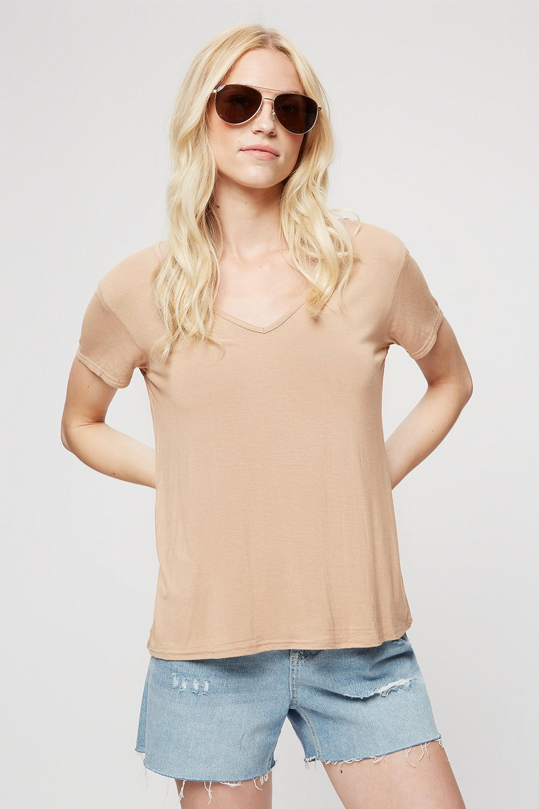 Camel V Neck Relaxed T-shirt