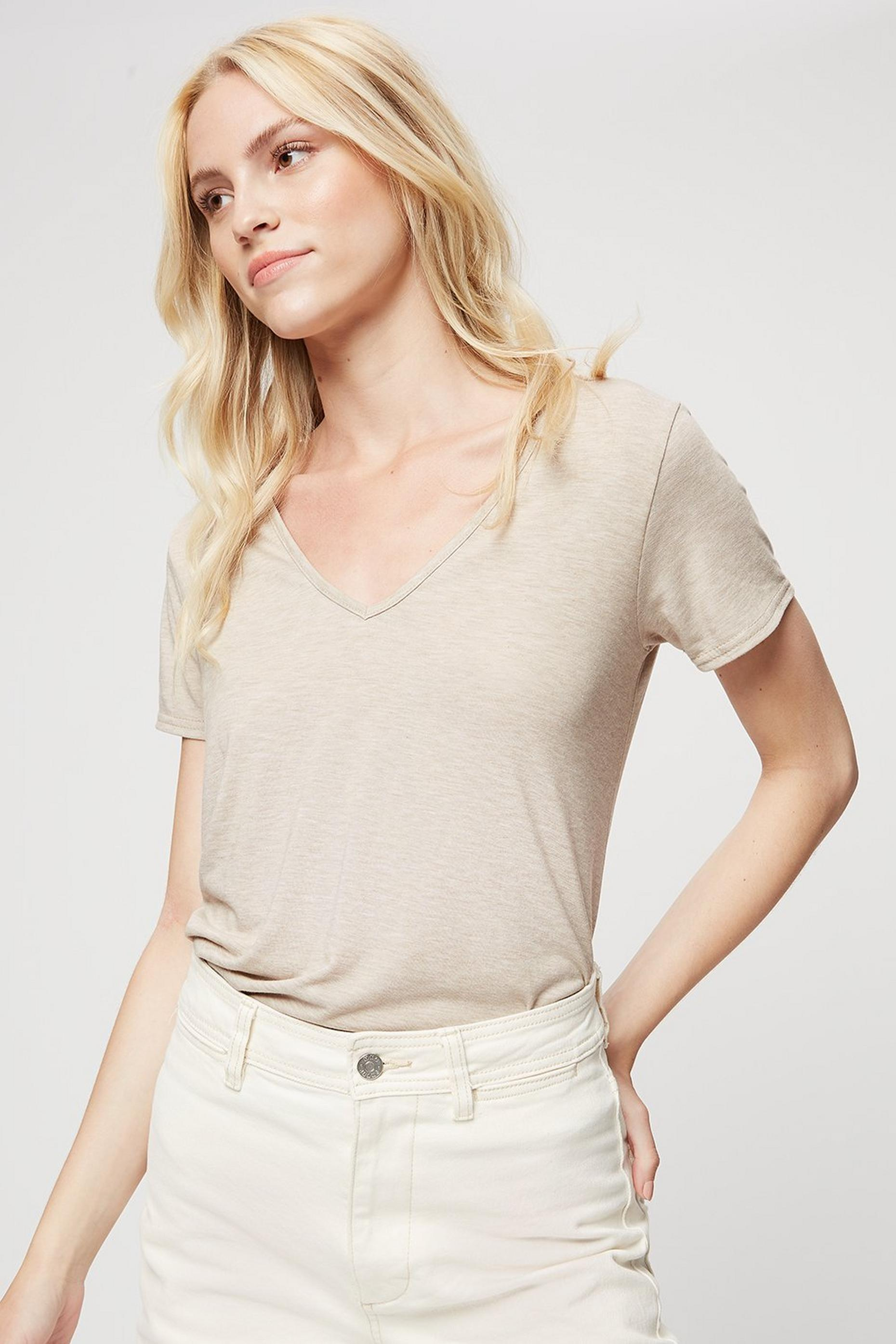 Oatmeal V Neck Relaxed T-shirt