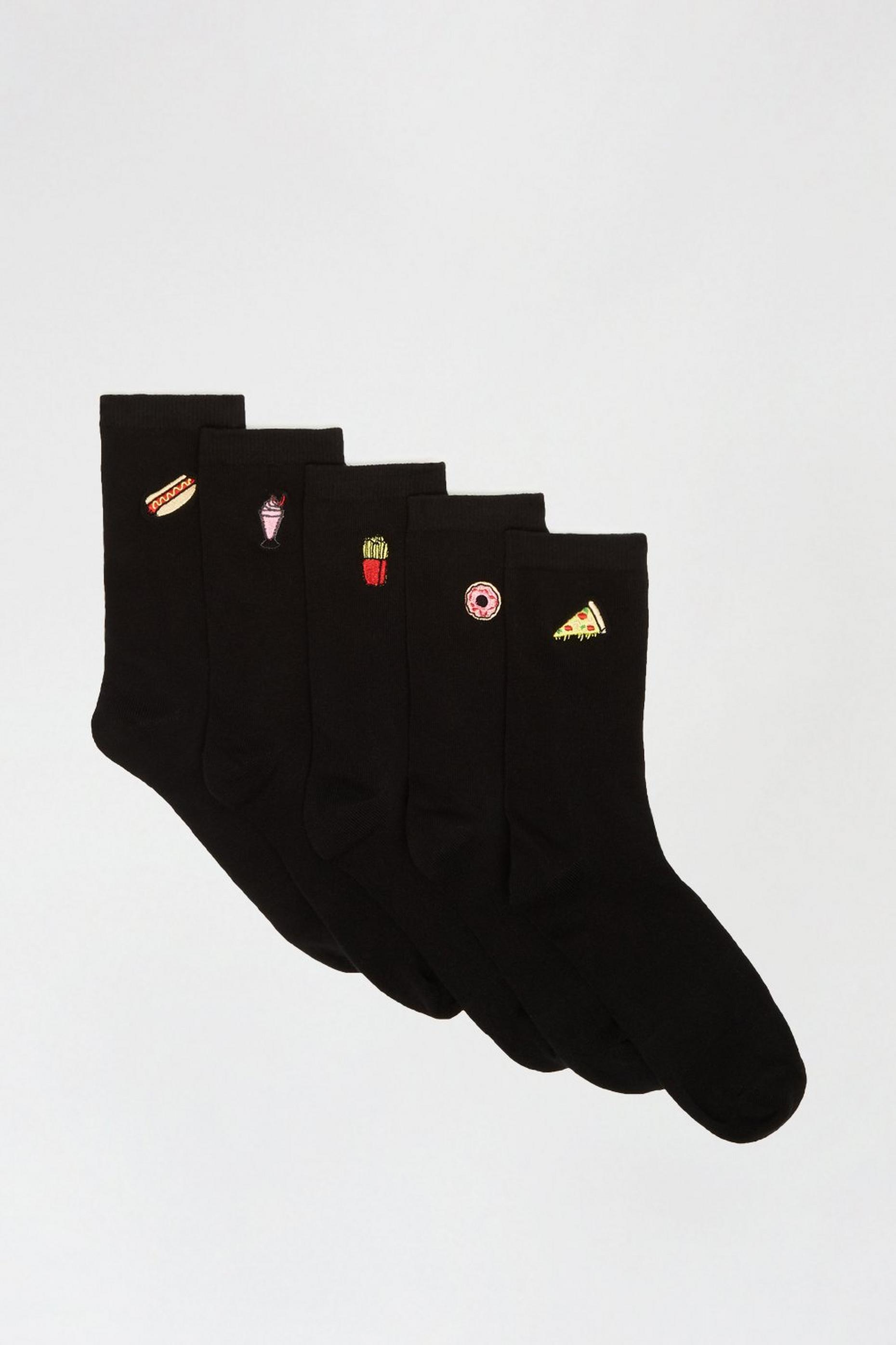Food Embroidered 5 Pack Ankle Socks