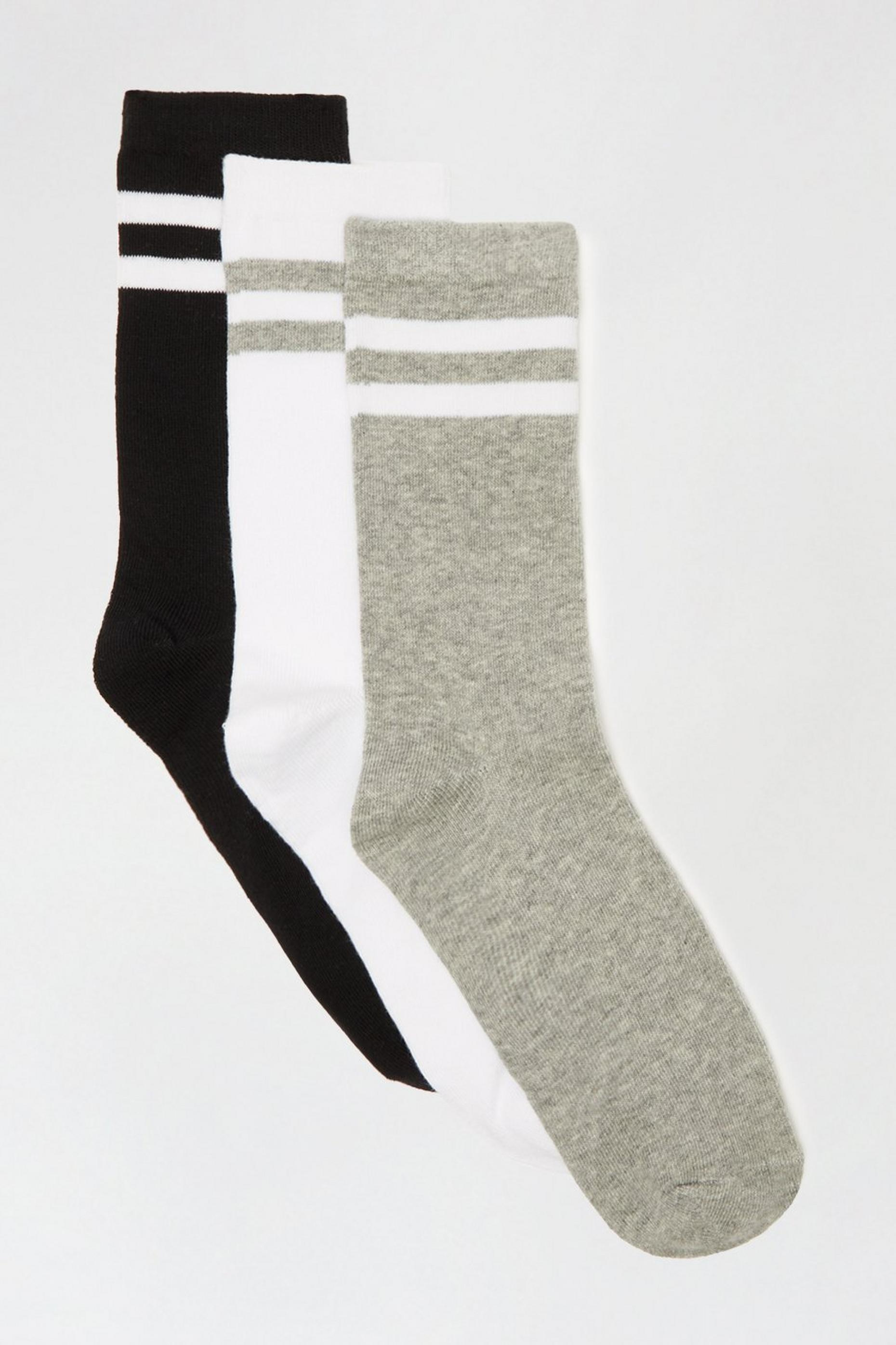 Mono Stripe 3 Pack Ankle Socks