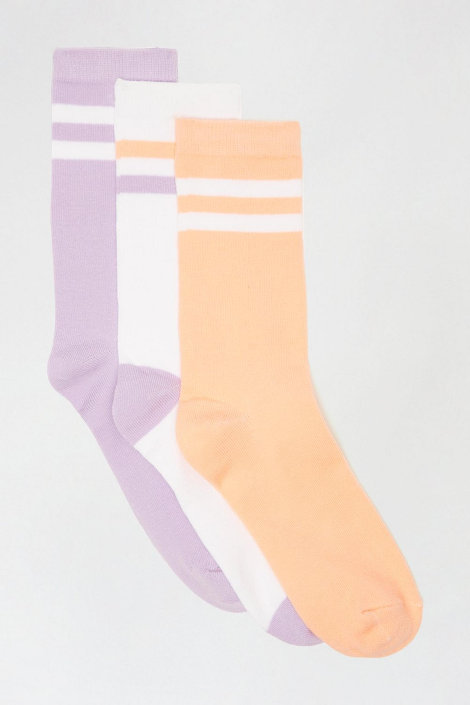 Pastel Striped 3 Pack Socks