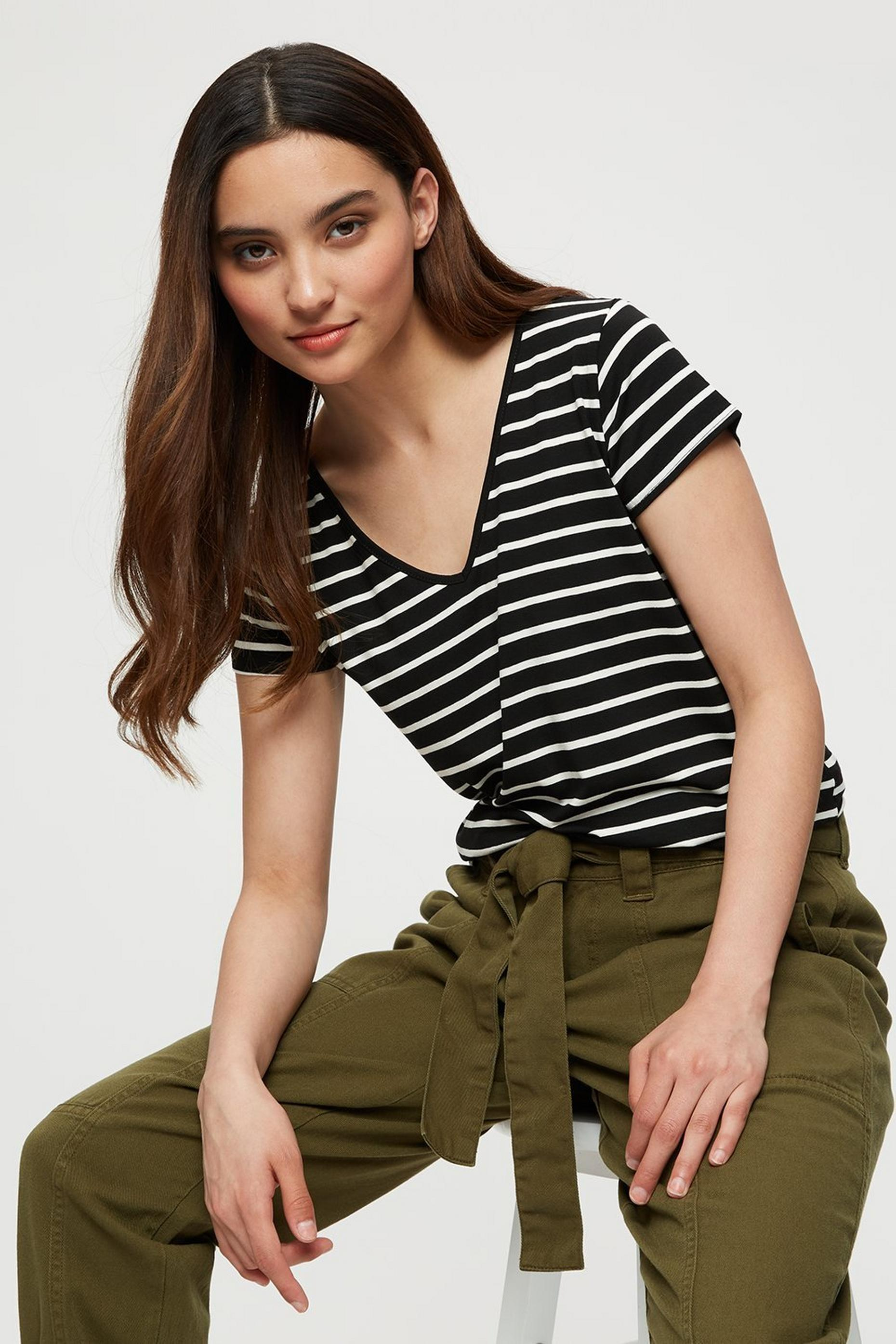 Petite Black/white Stripe V Neck Tee