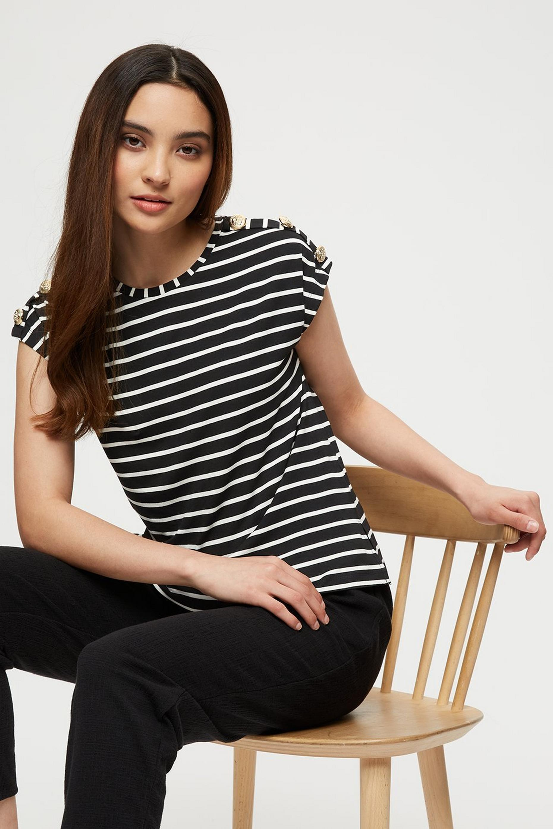 Petite Mono Stripe Button Shoulder Tee