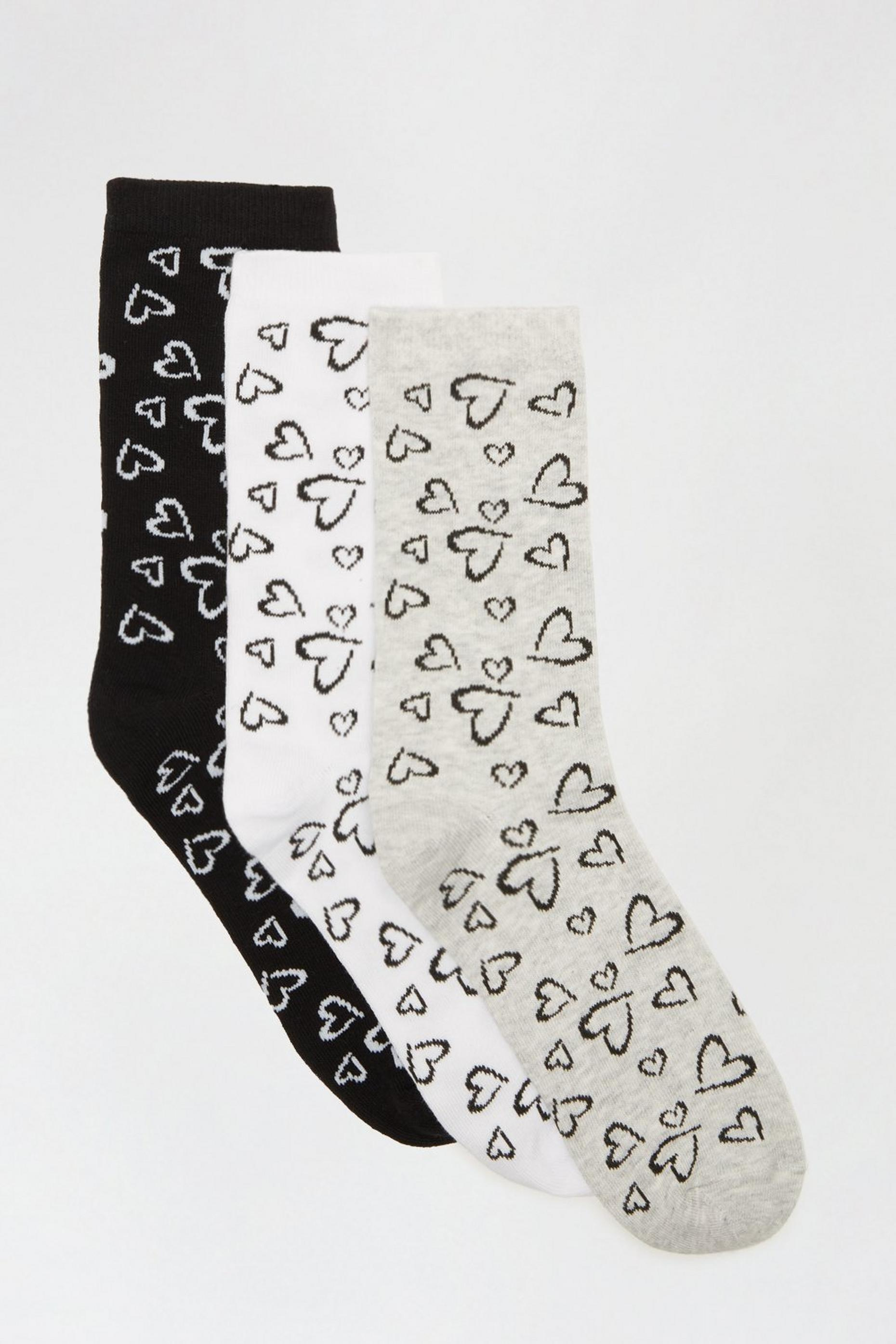 Grey Heart Print 3 Pack Ankle Socks