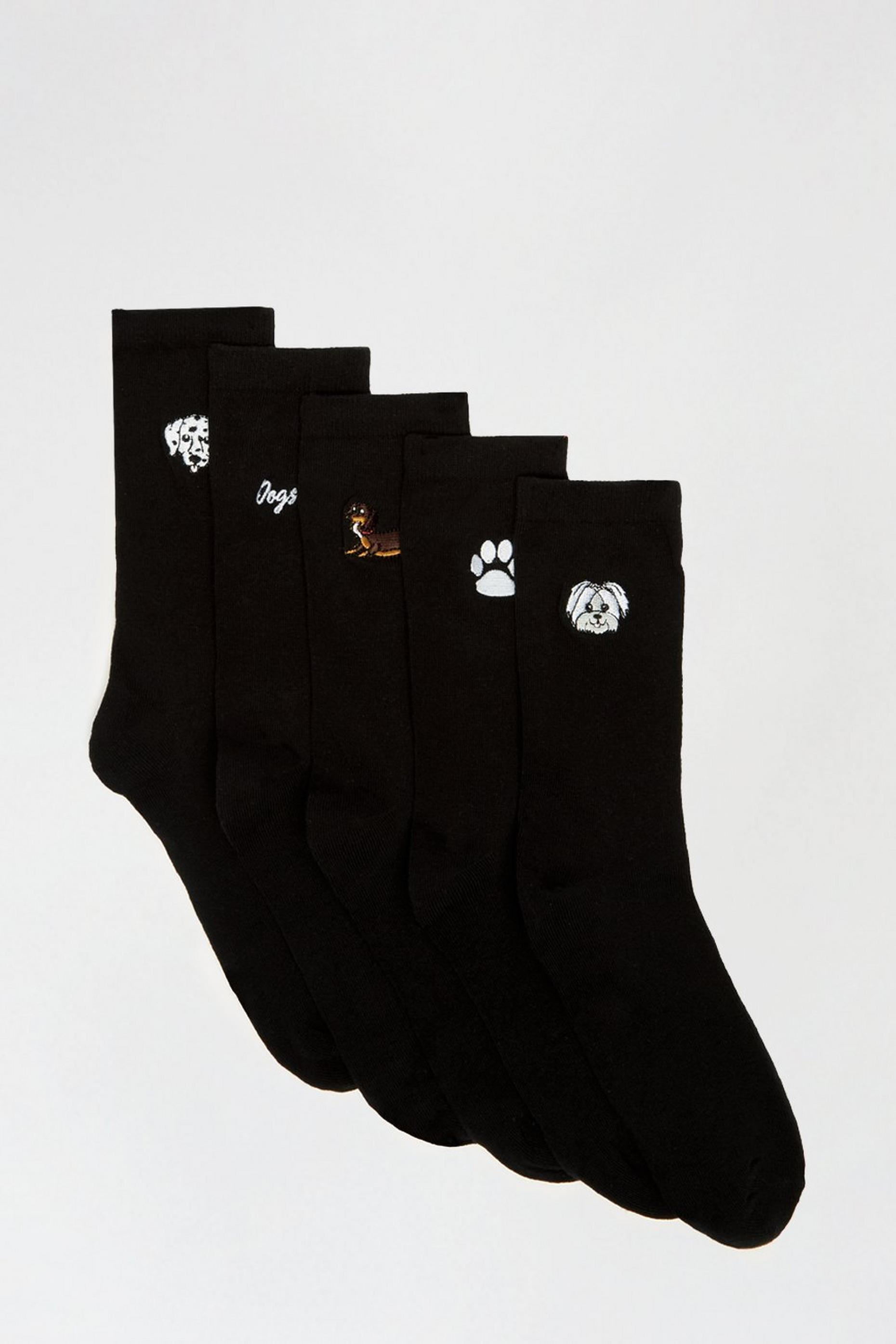 Dog Embroidered 5 Pack Ankle Socks