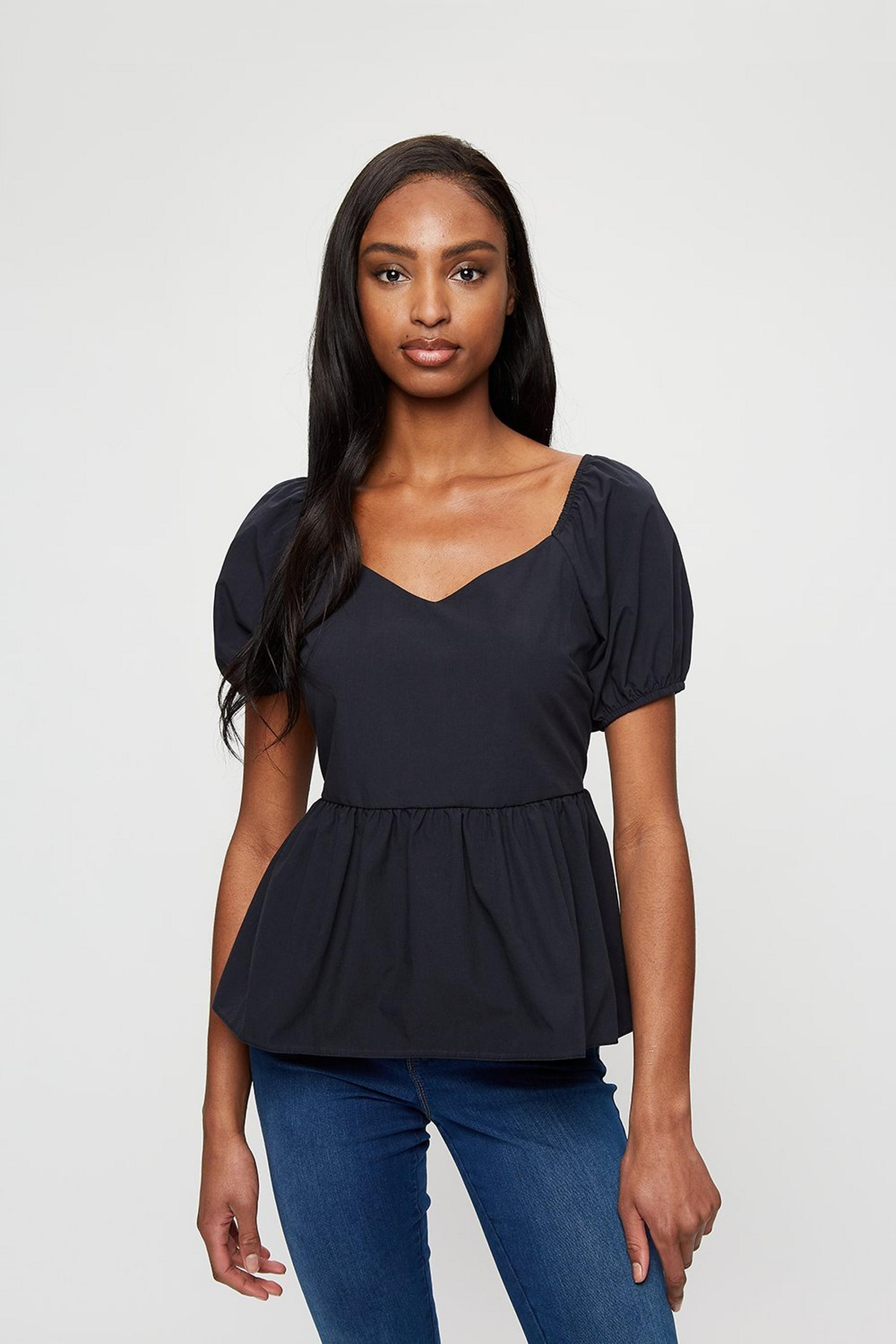 Black Sweetheart Poplin Top