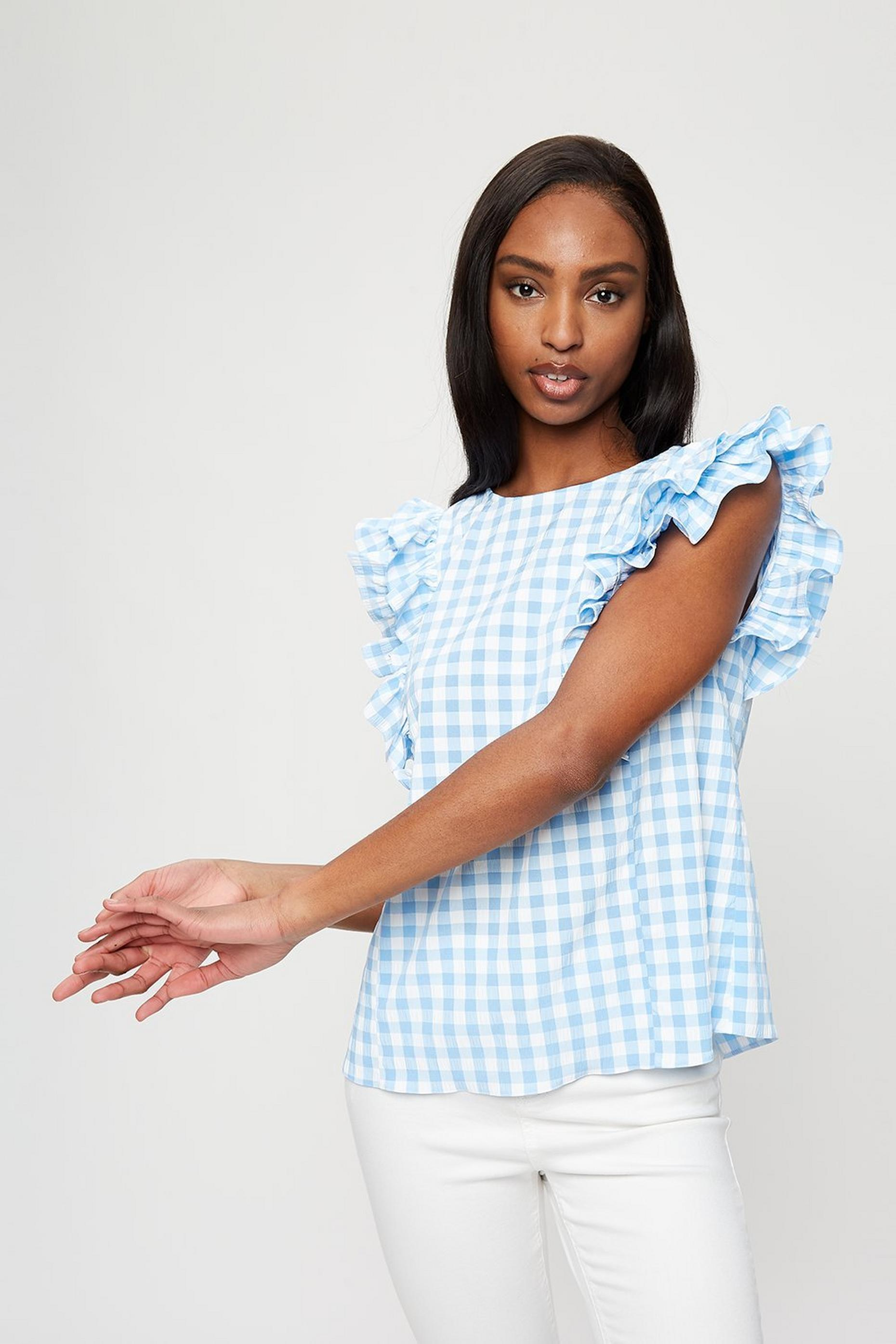 Blue Gingham Ruffle Shell Top