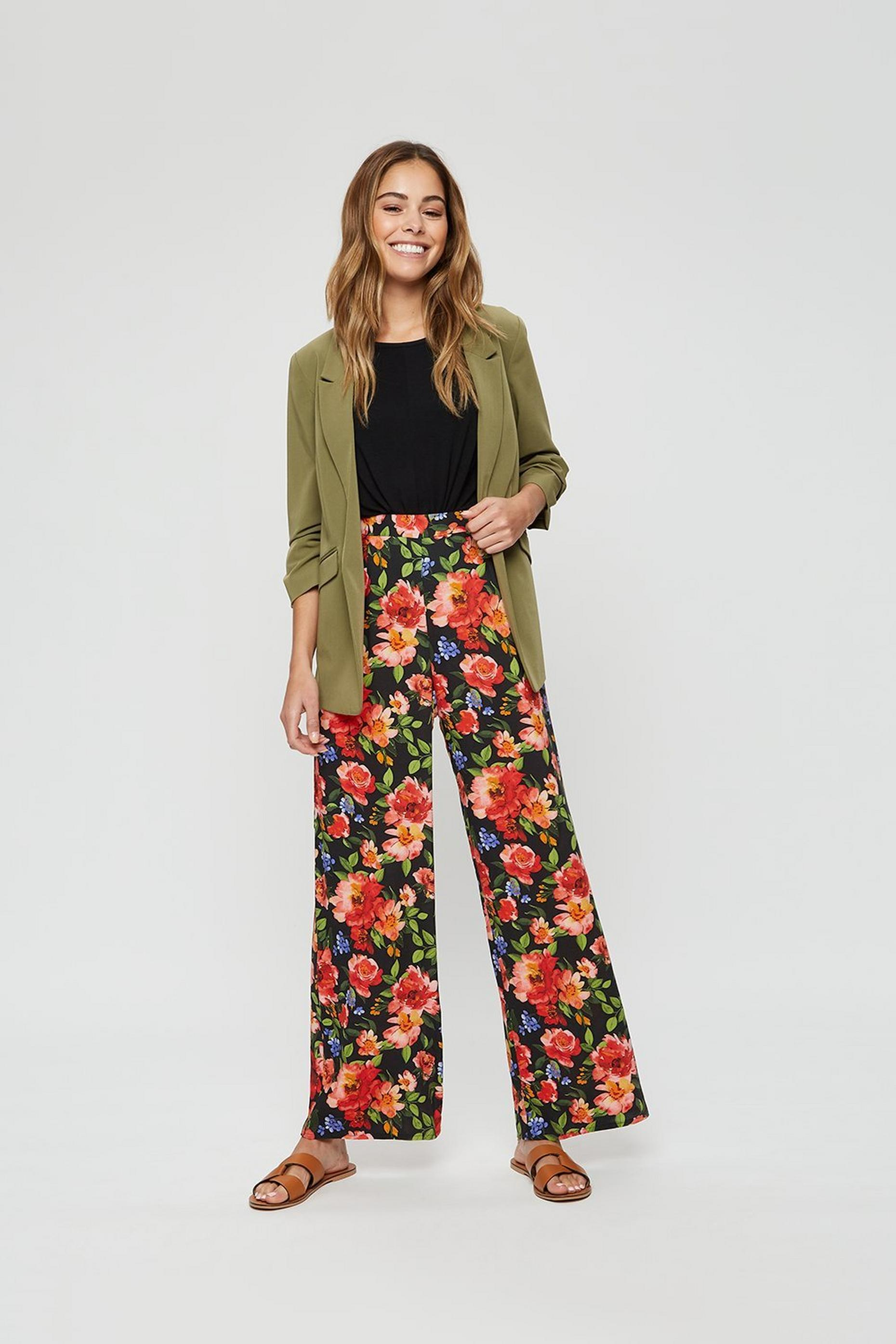 Bright Floral Wide Leg Trouser