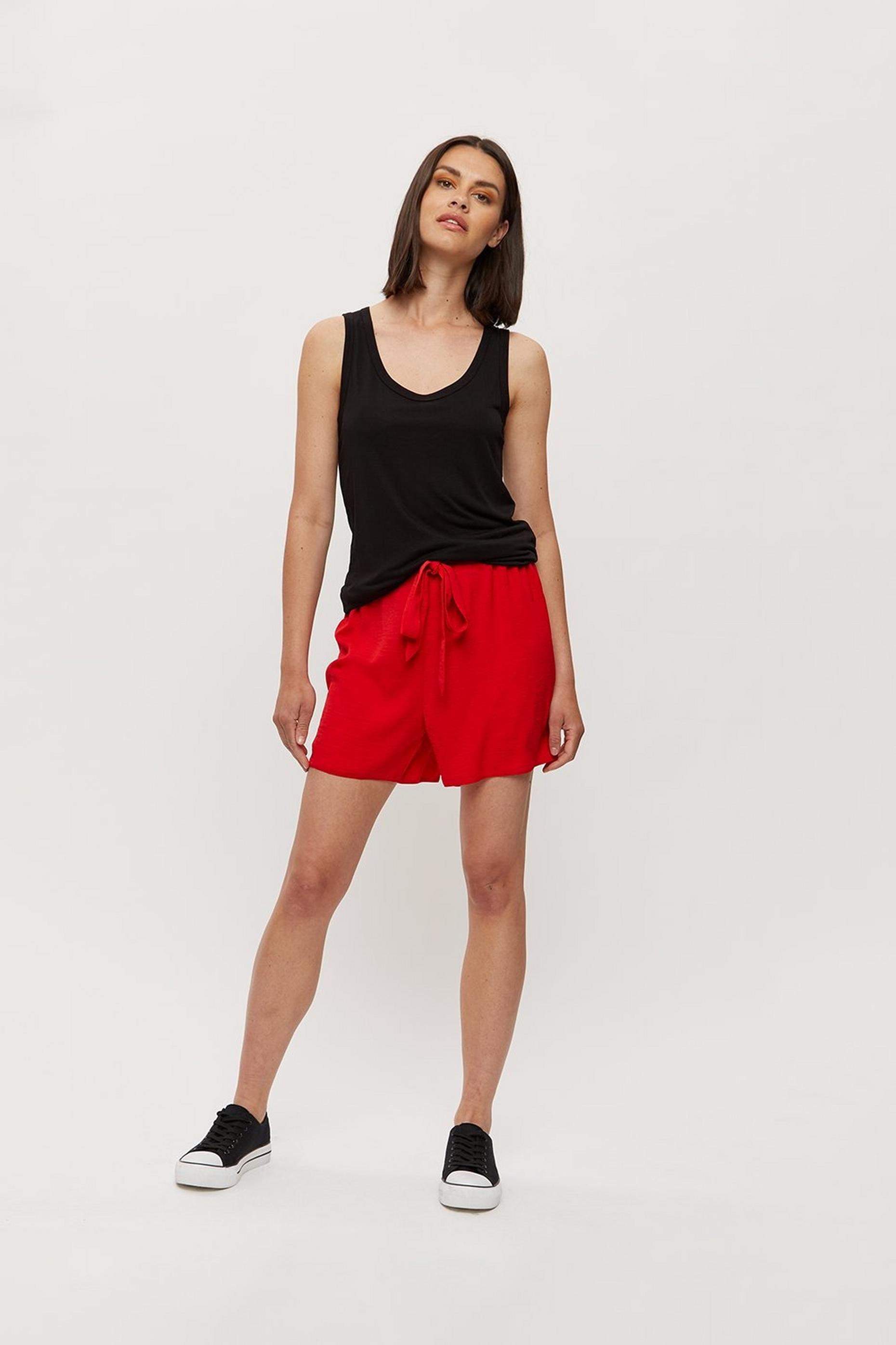Red Woven Short