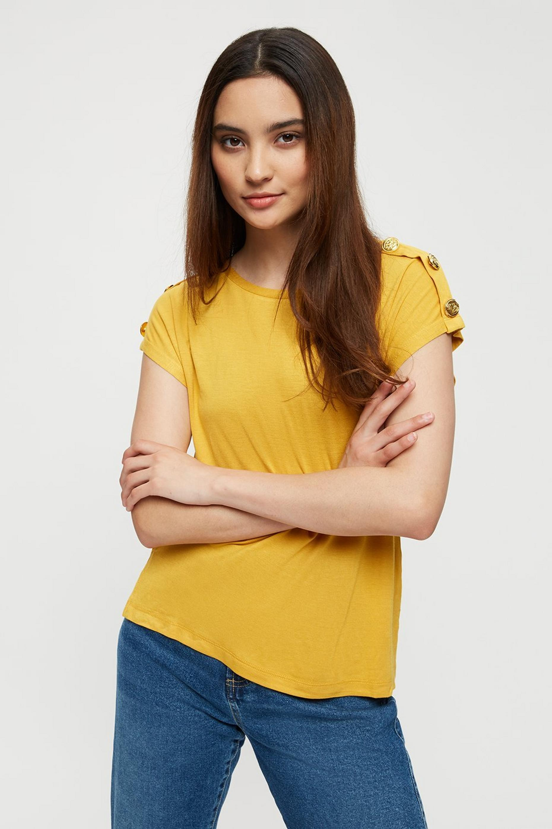 Petite Mustard Button Shoulder Tee
