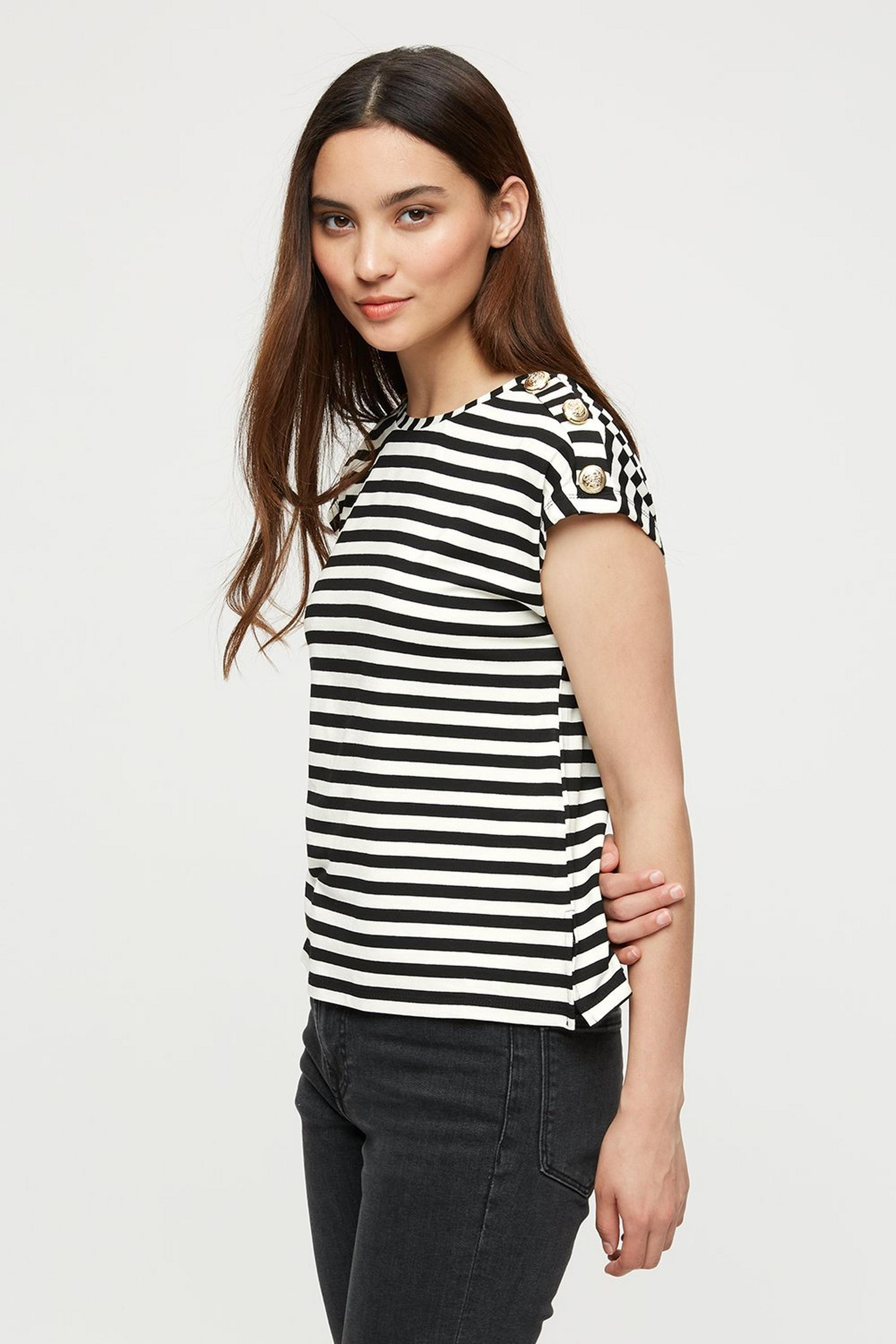Petite White/black Stripe Button Shoulder Tee