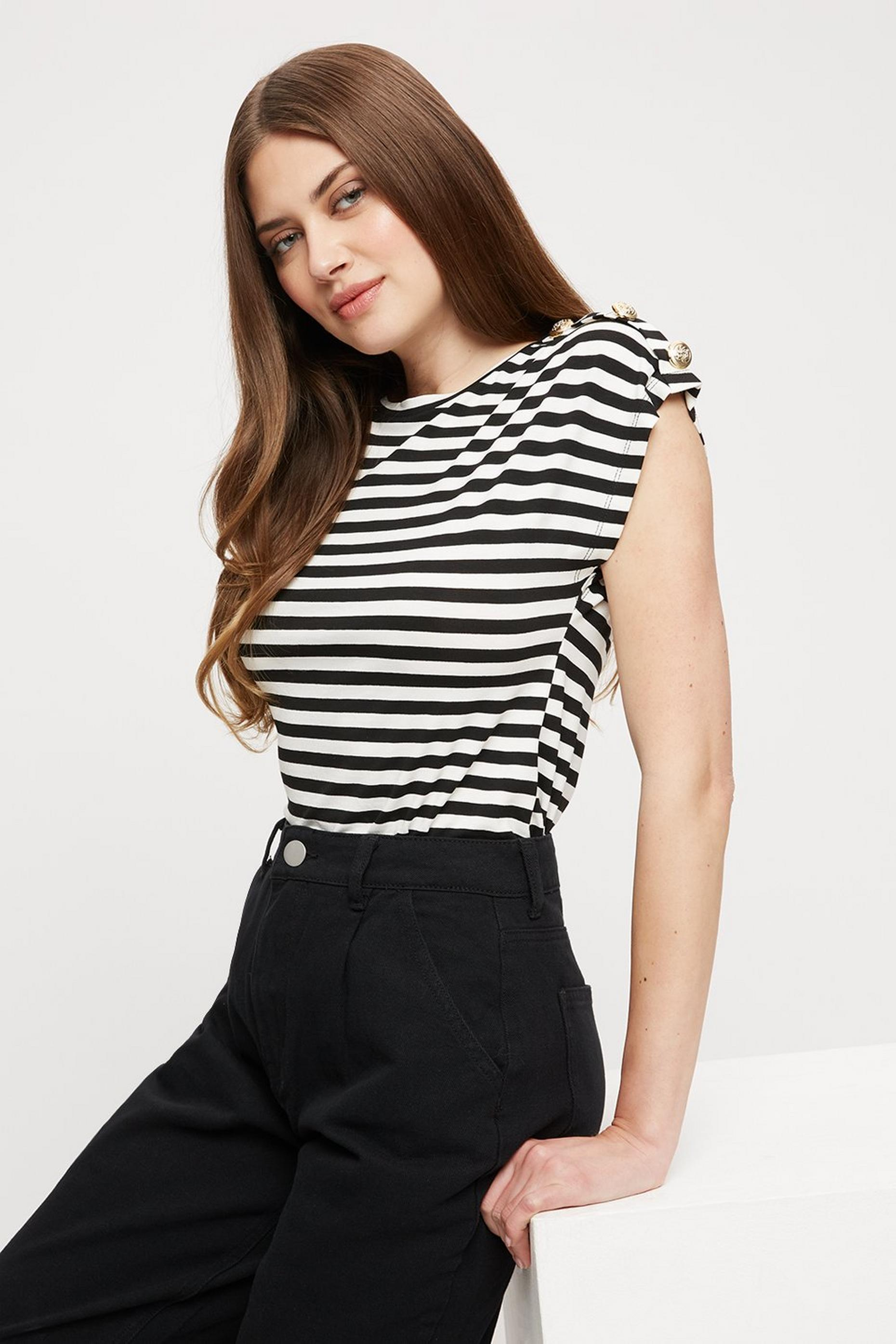Tall White And Black Stripe Button T Shirt