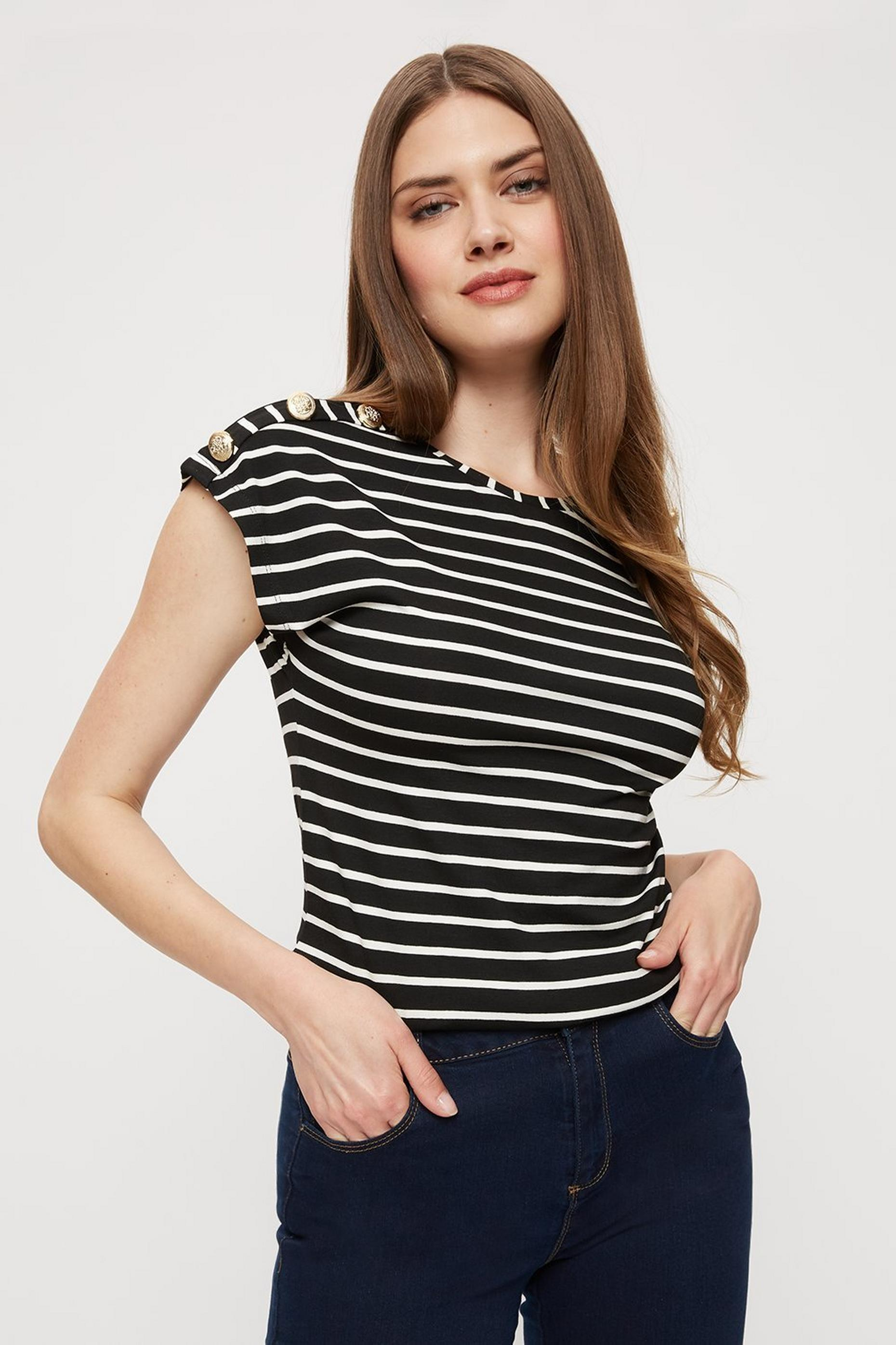 Tall Black And White Stripe Button T Shirt