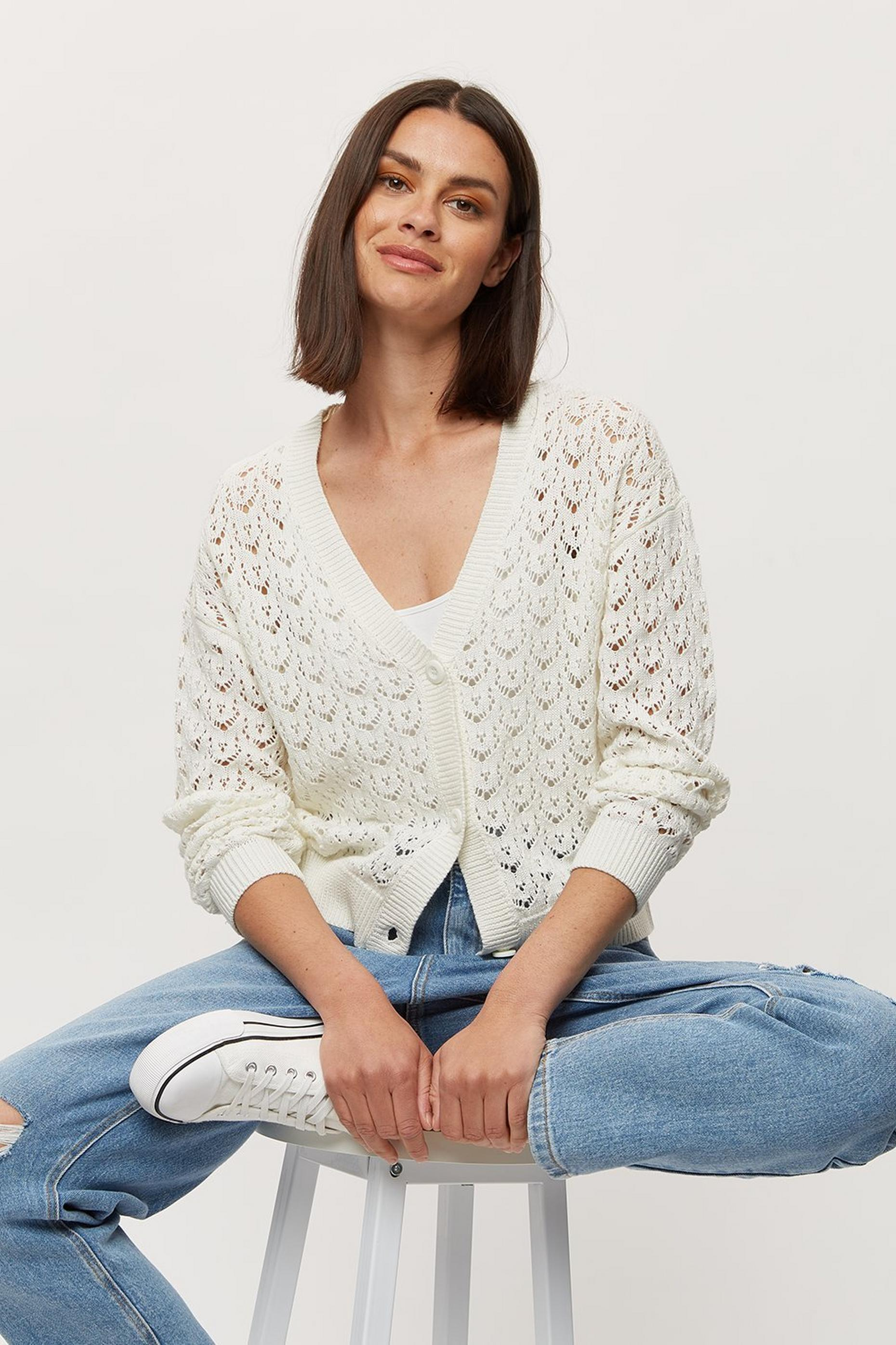 V Neck Pointelle Cardigan