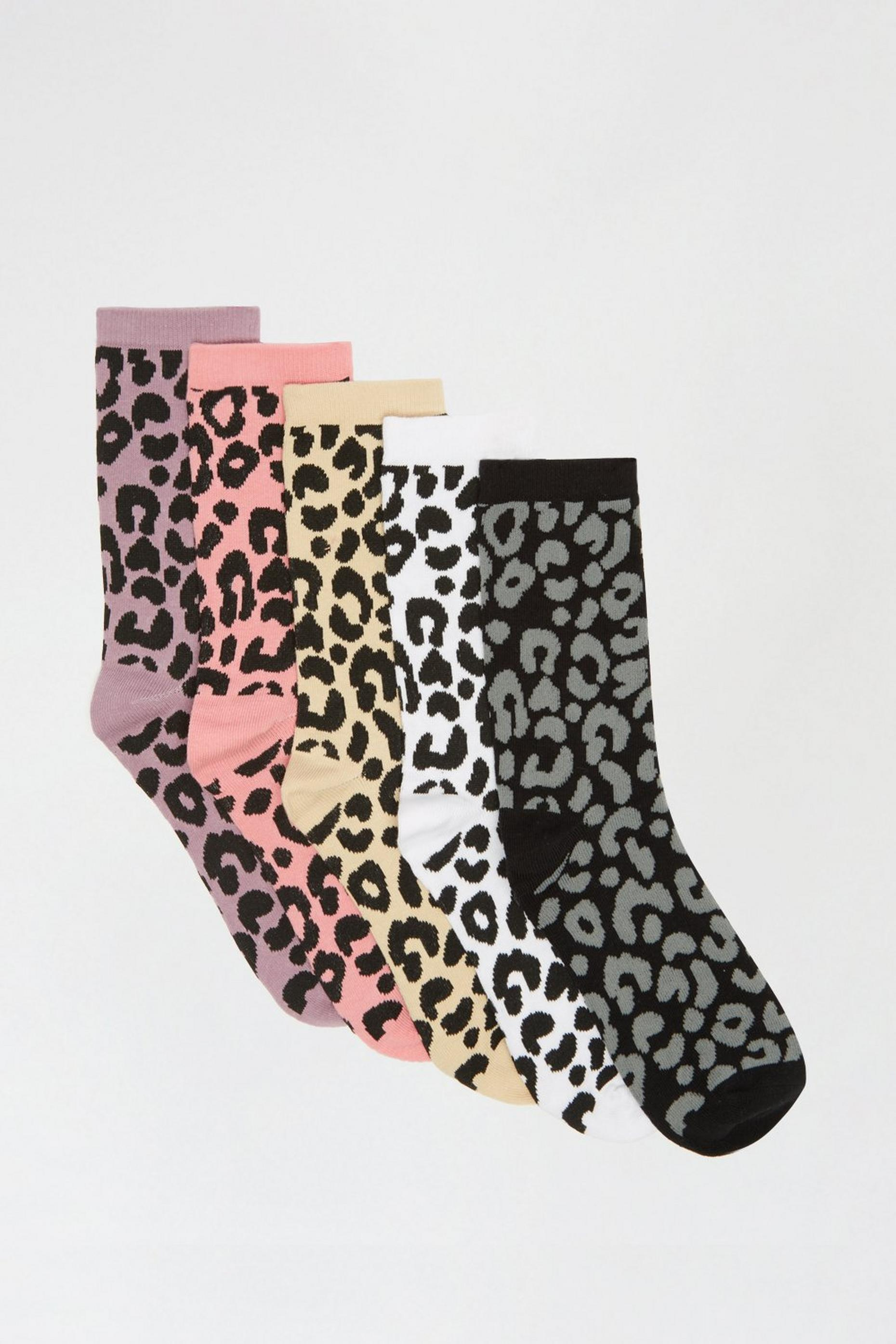 Leopard 5 Pack Ankle Socks