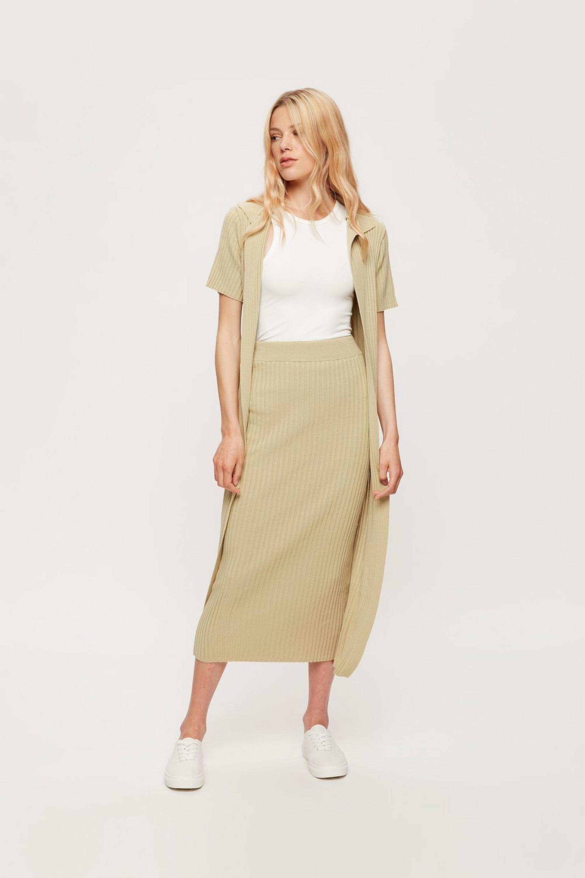 Sage Ribbed Midi Skirt