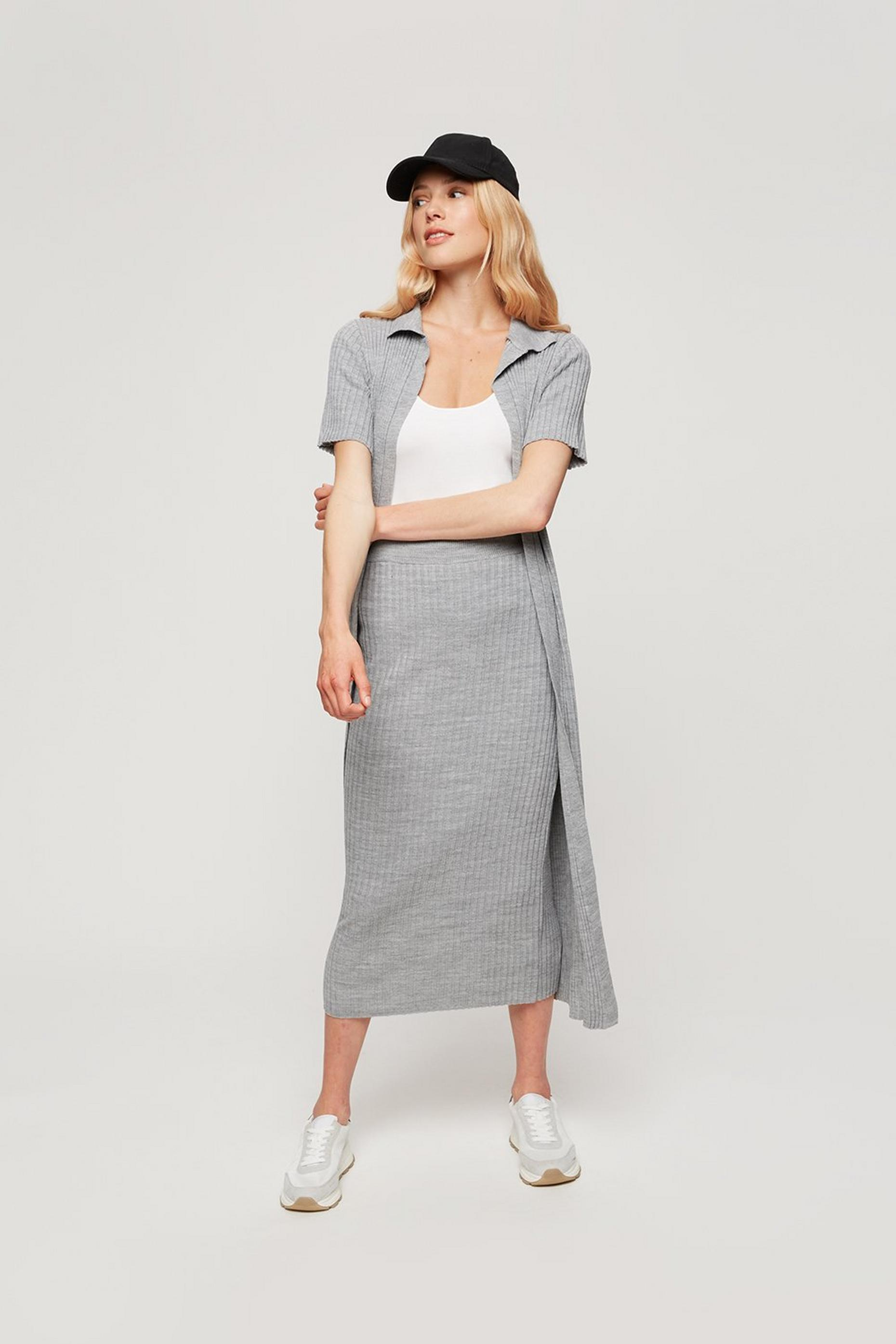 Light Grey Rib Collar Longline Cardigan