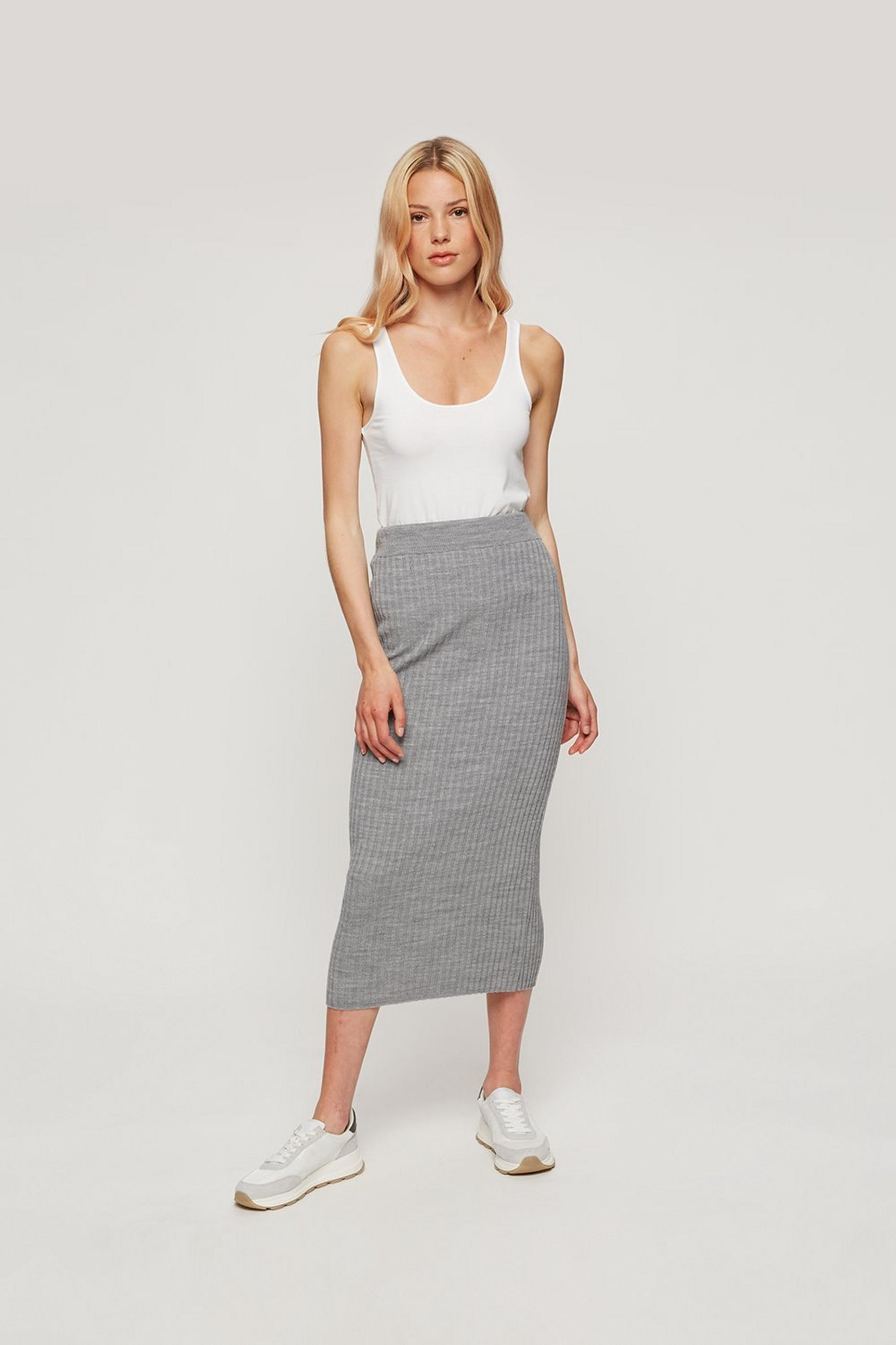 Light Grey Ribbed Midi Skirt