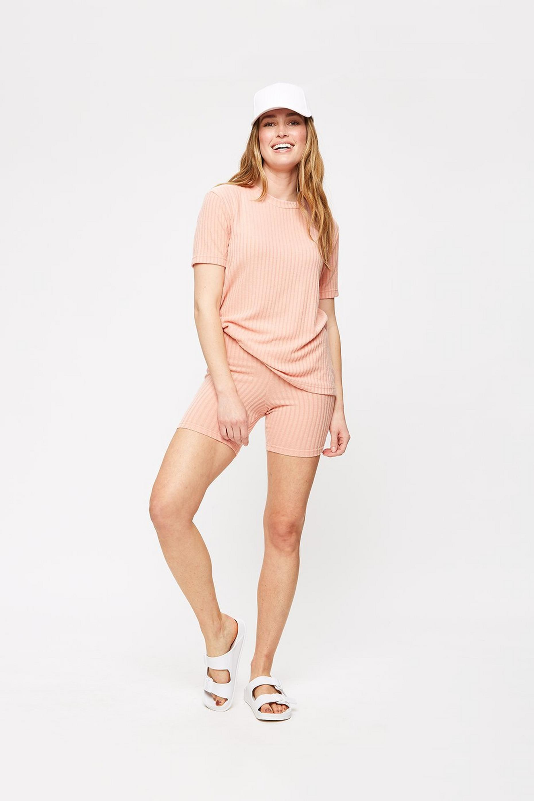 Pink Rib T And Cycling Short